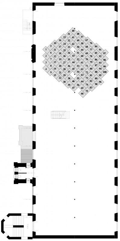 Plan diagram of Islington Mill 5th floor. Choose your print position on the floor.