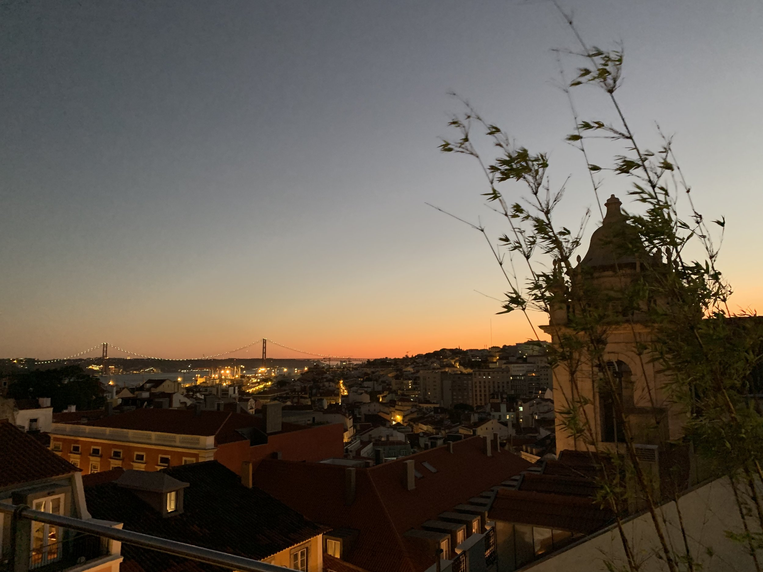 View of Lisbon from a rooftop bar