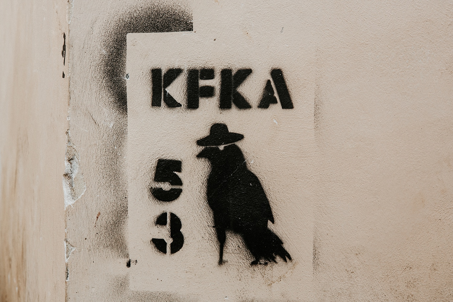 KFKA #53 crow street art (Franz Kafka), Prague, Czech Republic