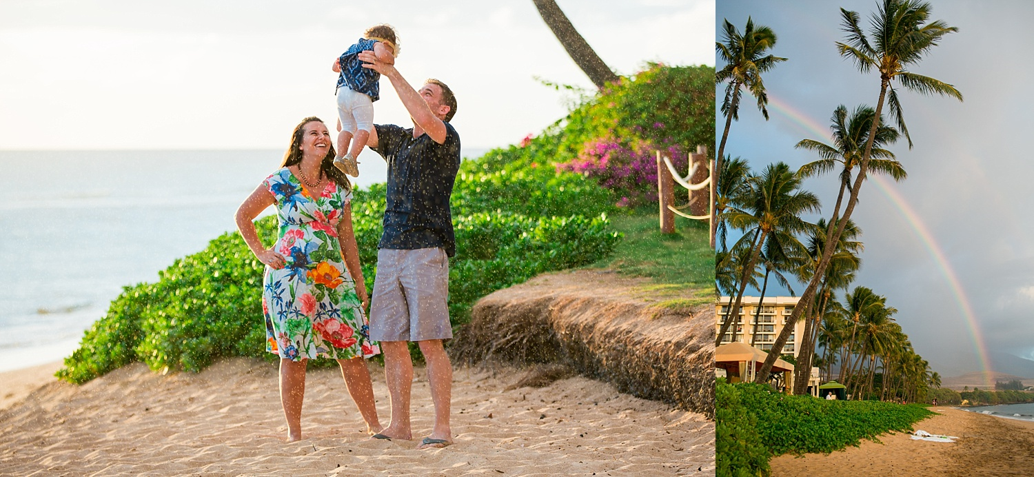Hyatt Regency Maui Hawaii sunset beach family photoshoot rainbow