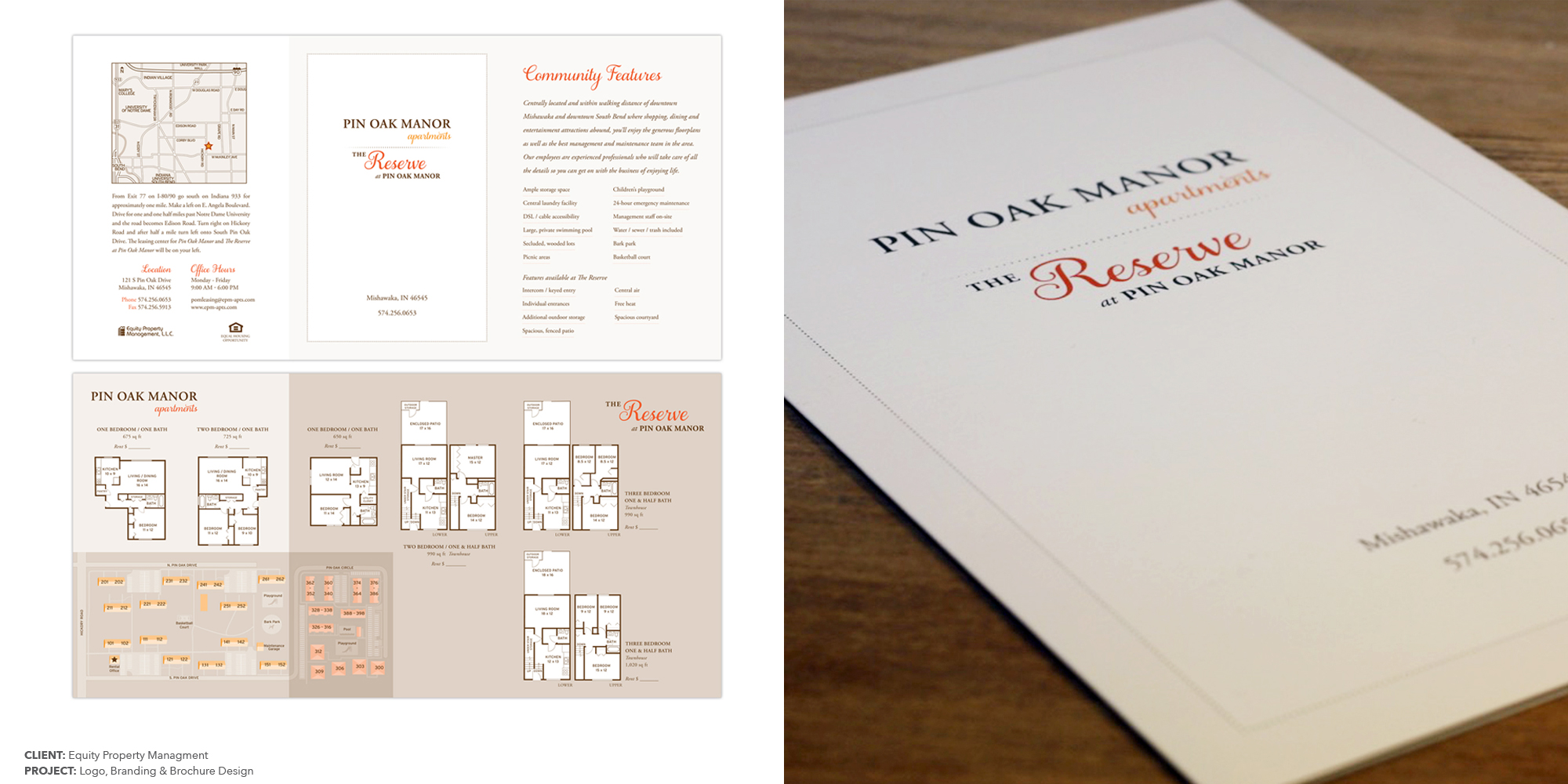 PINOAK MANOR & THE RESERVE AT PINOAK MANOR PROPERTY BRANDING & MARKETING MATERIALS  CLIENT:  EQUITY PROPERTY MANAGEMENT