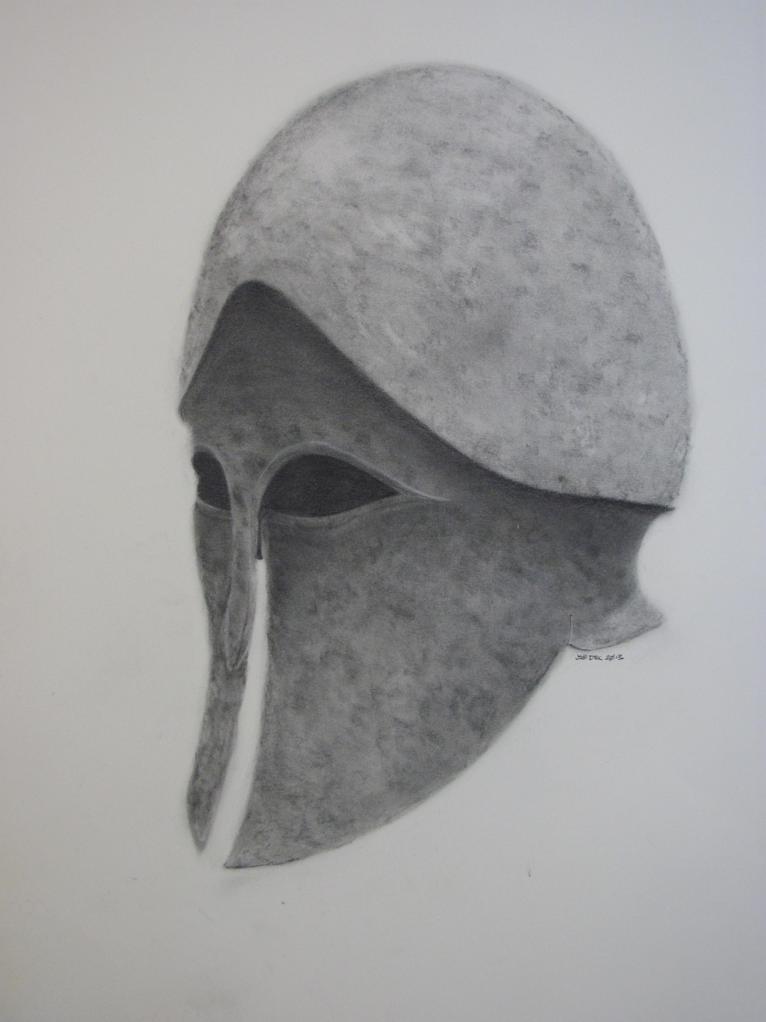 "Corinthian Helmet , charcoal on paper, 23"" x 30"", 2013"