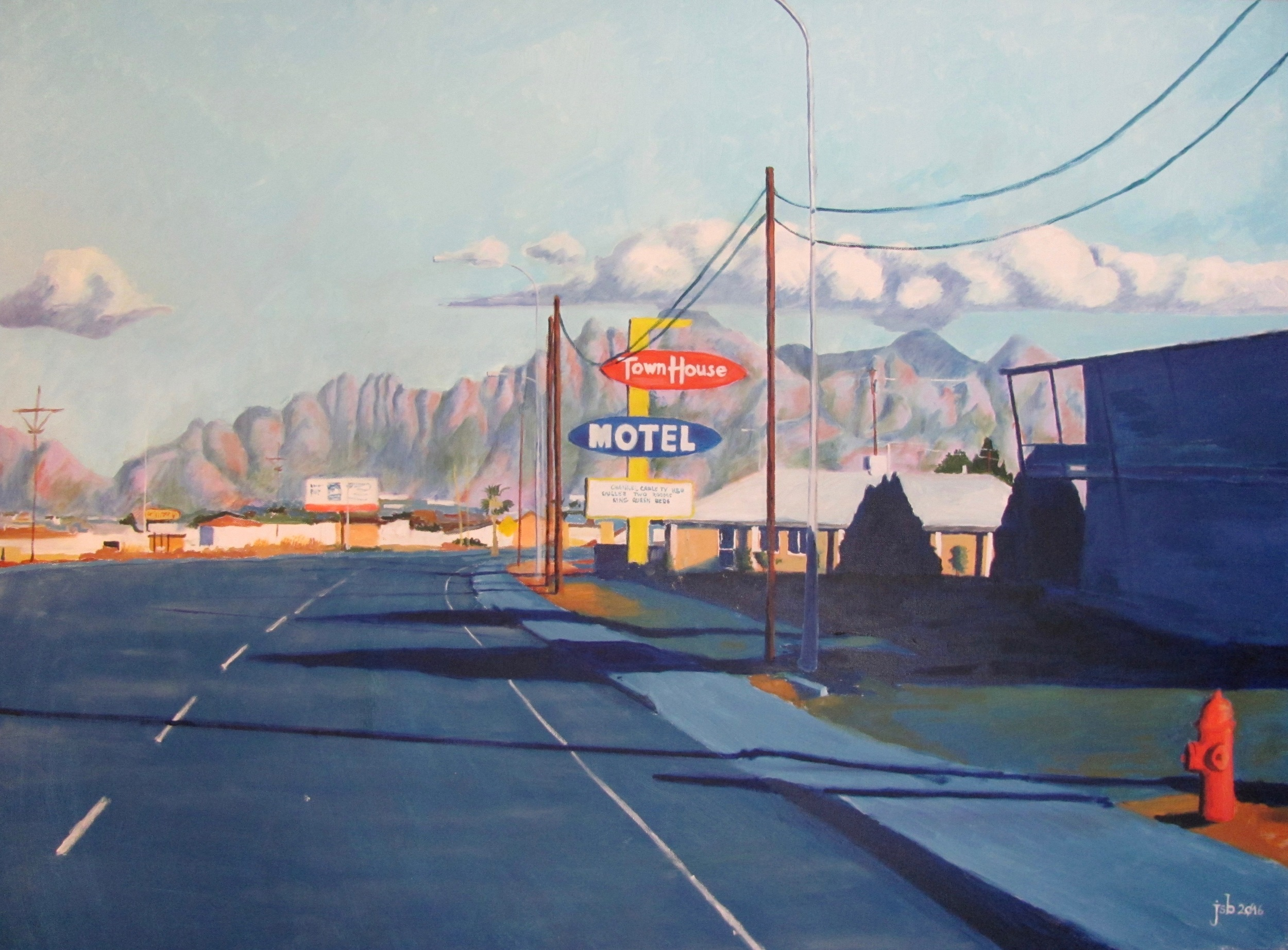 "Picacho Avenue, Las Cruces, New Mexico (No. 2),  Oil on Canvas, 40"" x 30"""