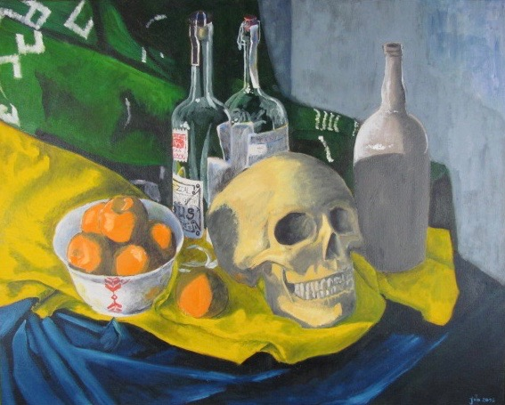 "Still Life with Skull and Oranges,  Oil on Pastel, 40"" x 30"", 2016"