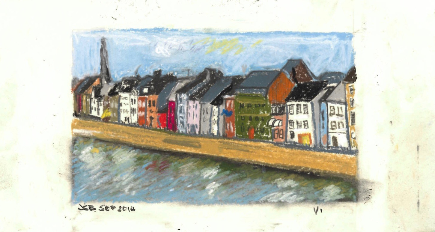"Maastricth and River Maas,  Pastel on Paper, 11"" x 6"", 2014"