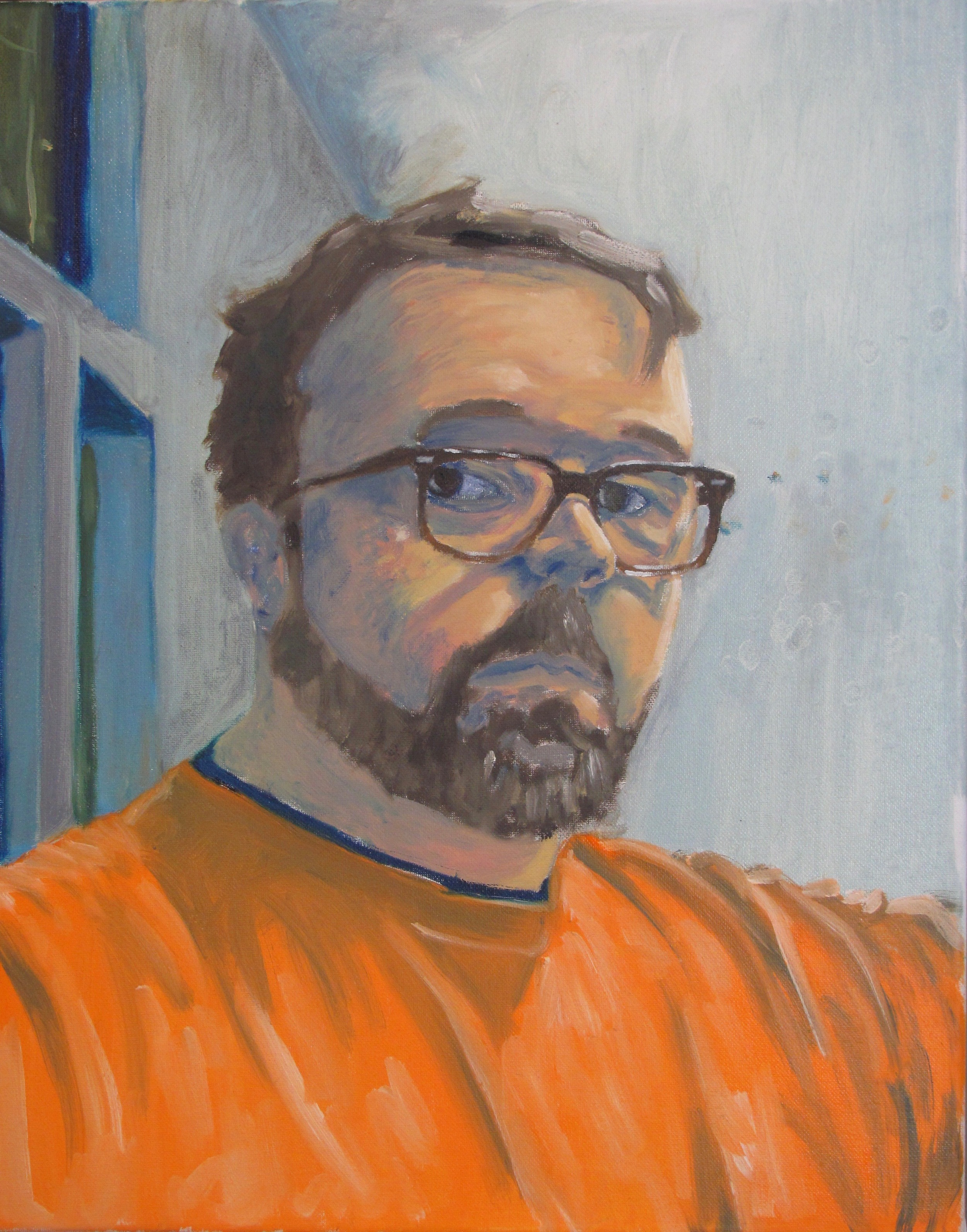 "Self Portrait in Orange Shirt,  OIl on Canvas, 16"" x 20"""
