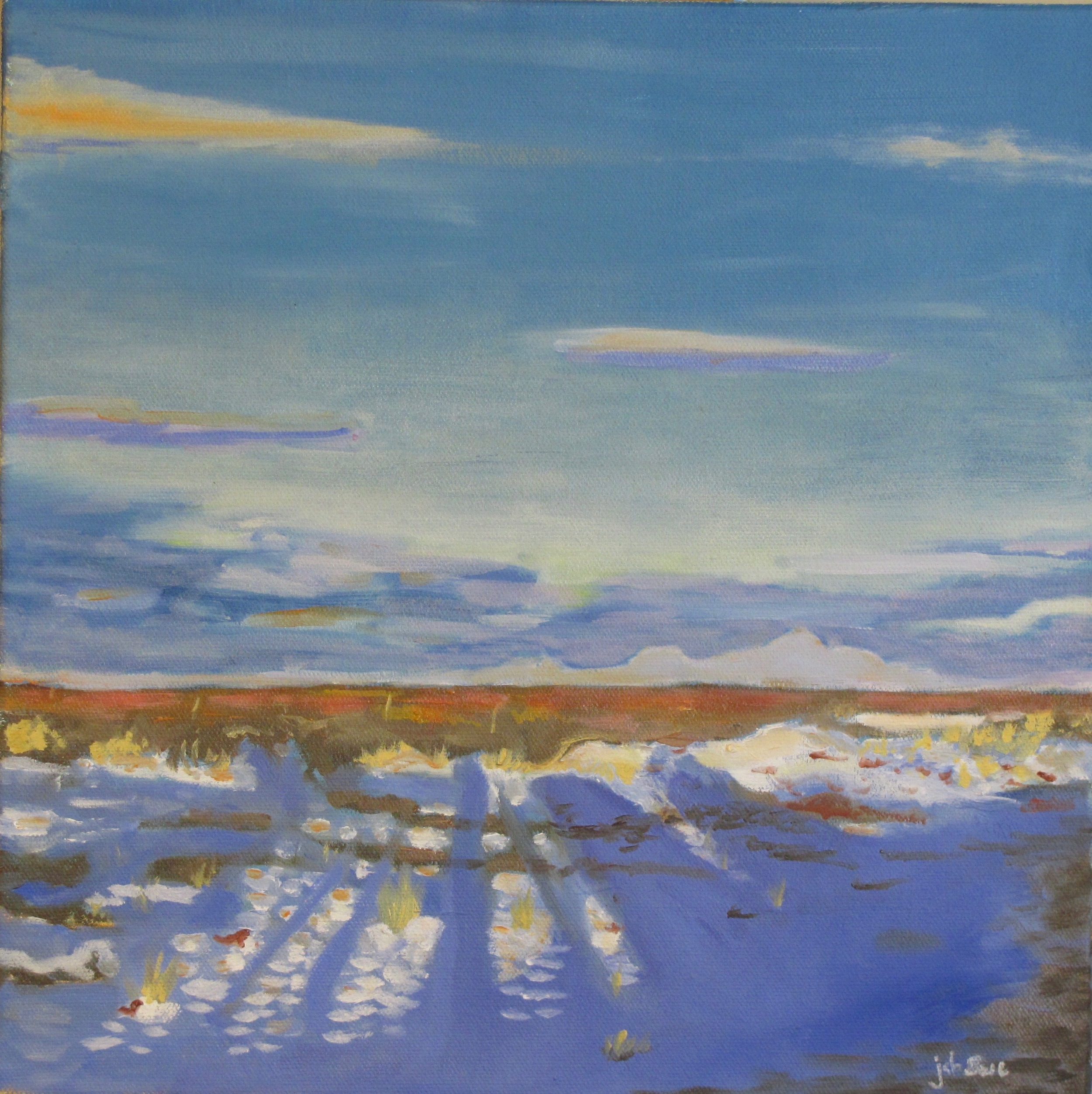 "Snow on High Desert,  Oil on Canvas, 12"" x 12"", 2015"