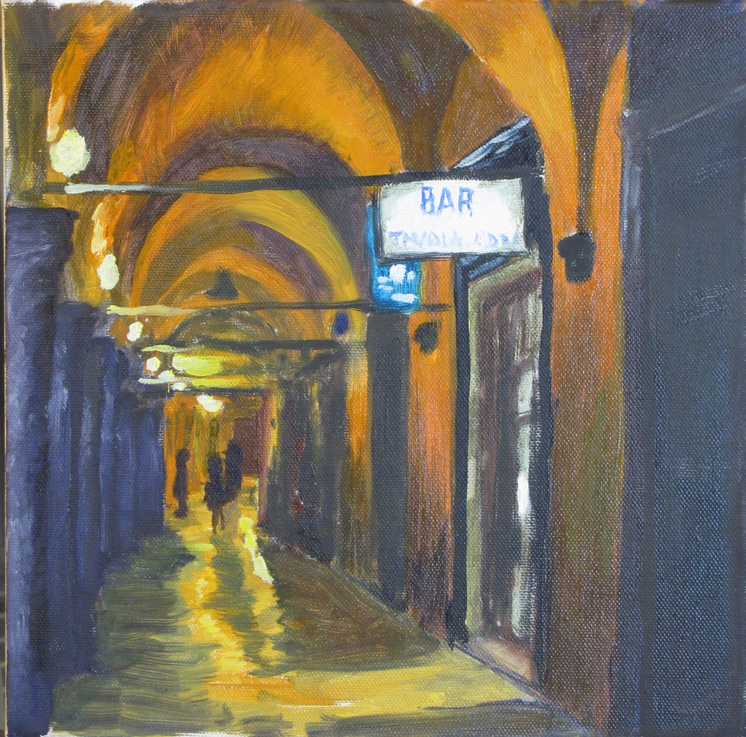 "Portici in Bologna, Oil on Canvas, 12"" x 12"" 2015"