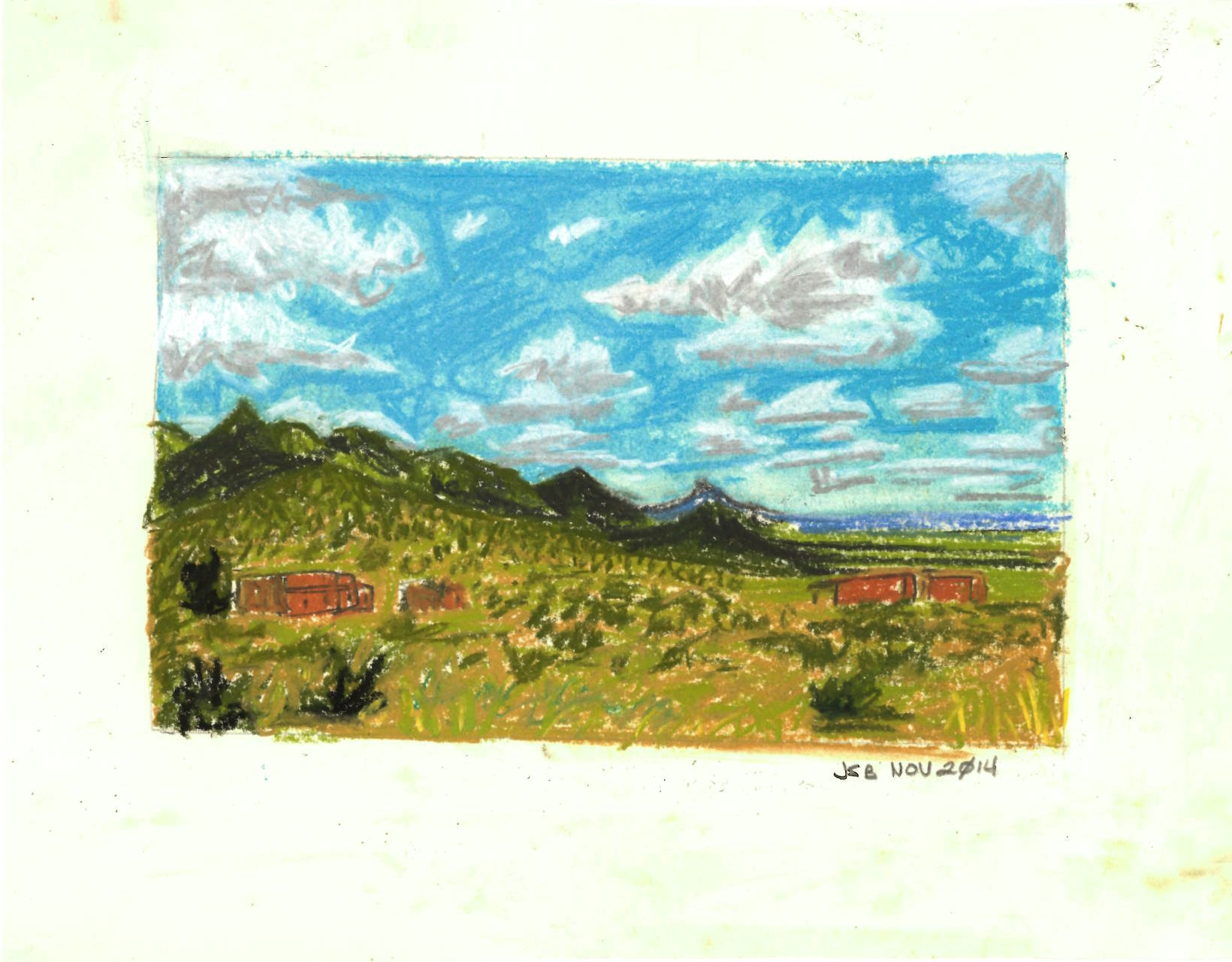 "Foothills of Organ Mountains, New Mexico, Pastel on Paper, 8"" x 12"", 2014."