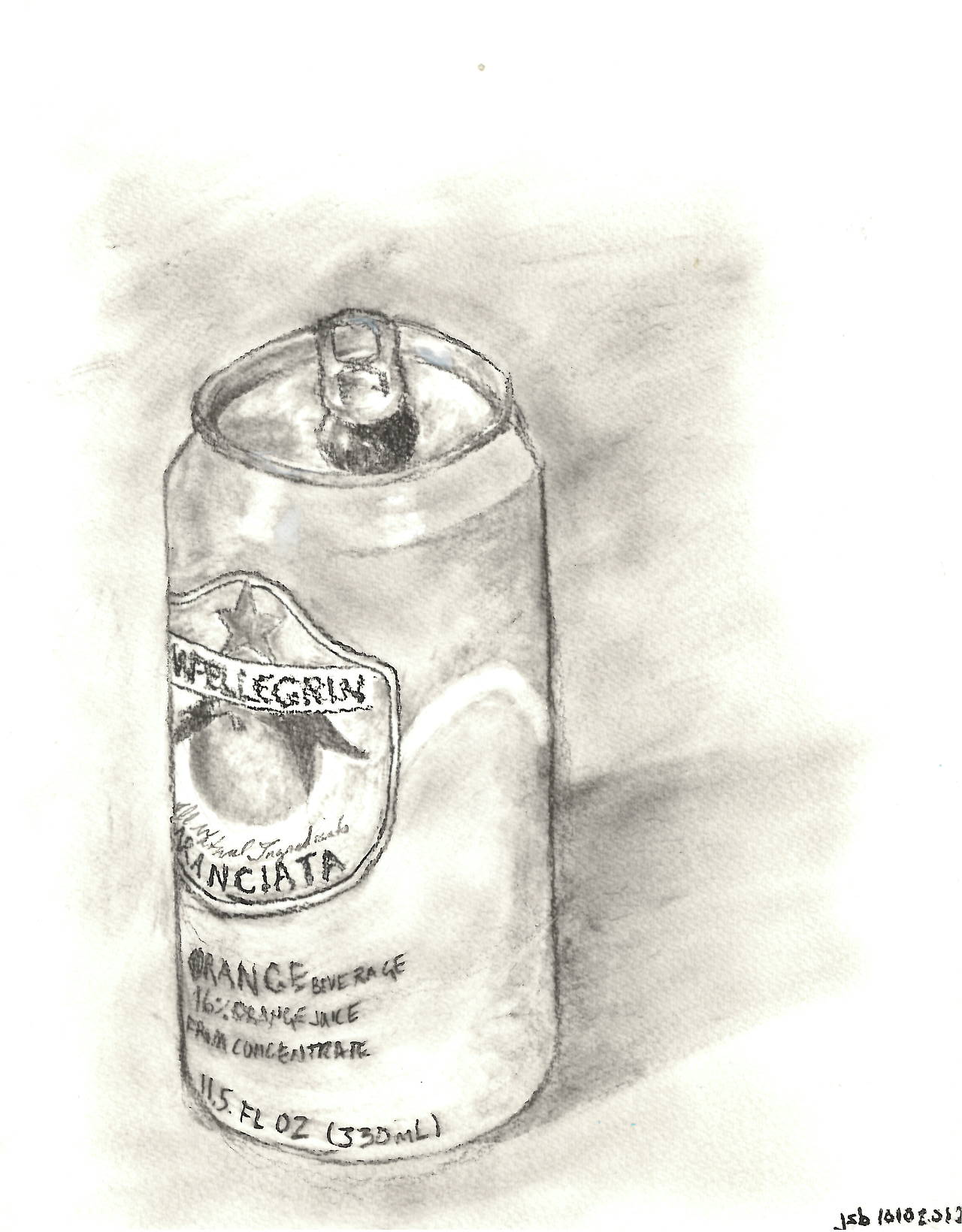 "San Pelligrino Can,  Charcoal on Paper, 8"" x 10"", 2012"