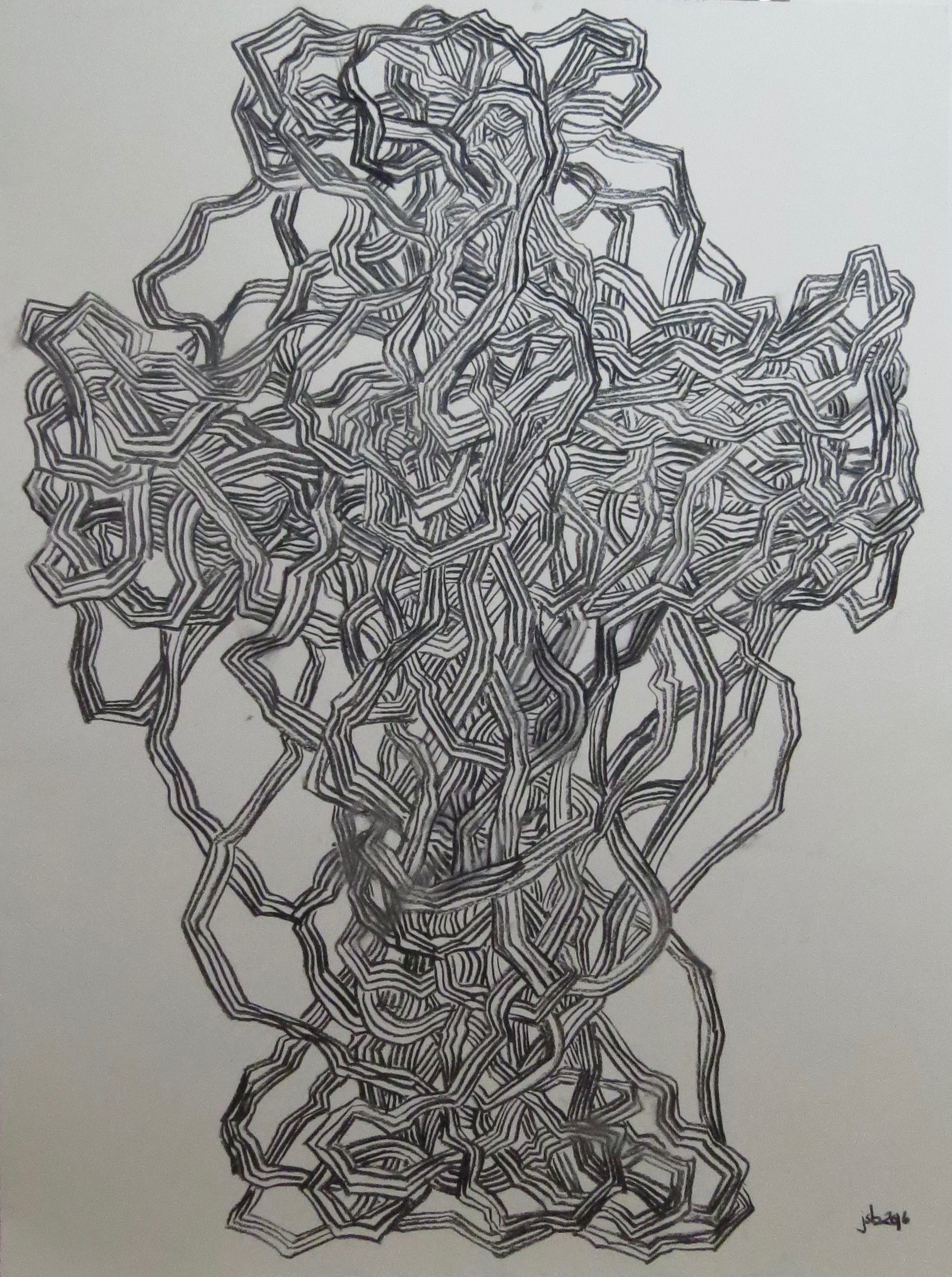 "Abstract Line Drawing No. 4, Vine Charcoal on Paper, 24"" x 18"""