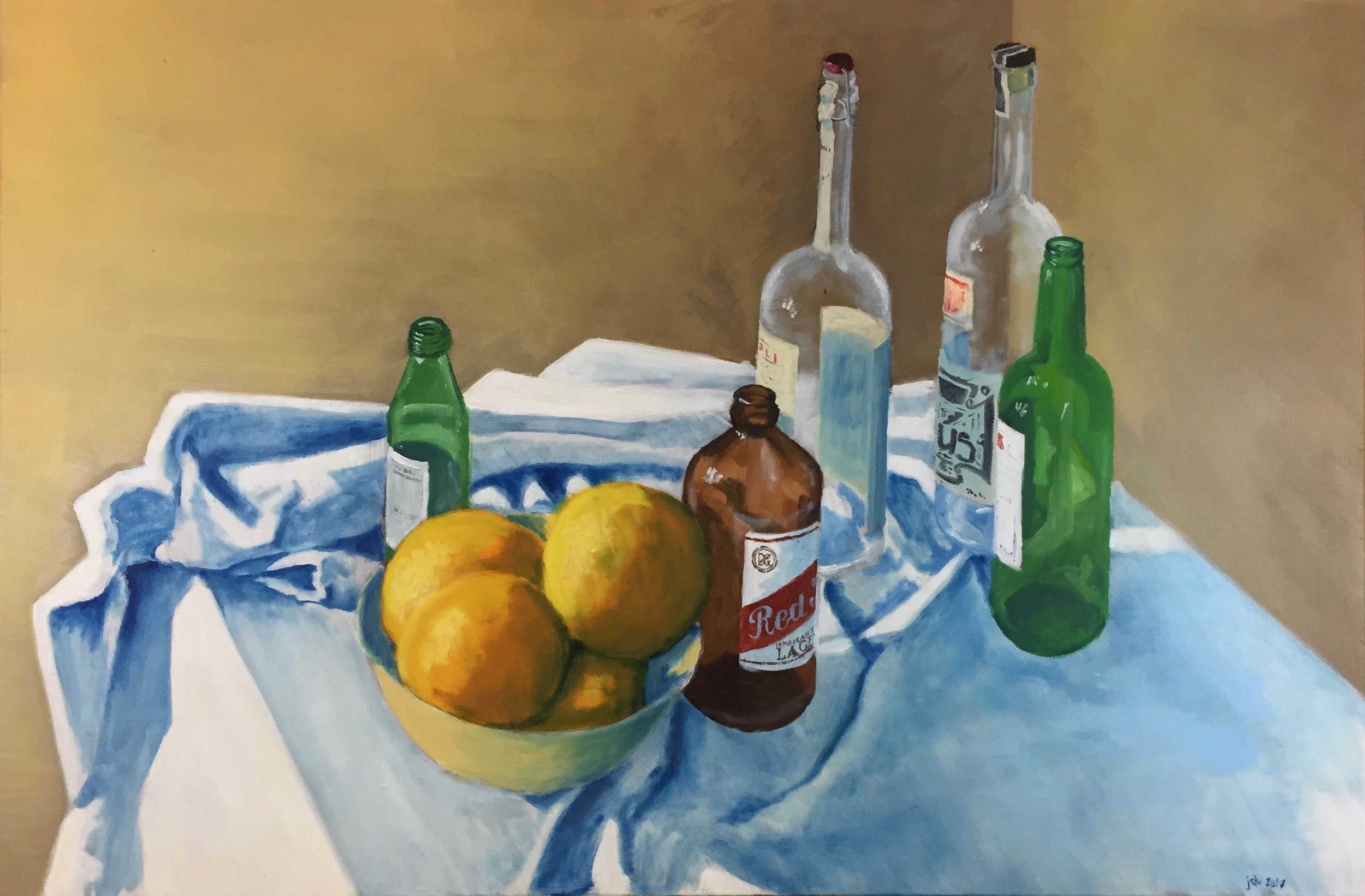 "Bottles with Oranges, 20""x30"", Oil on Canvas, 2017"