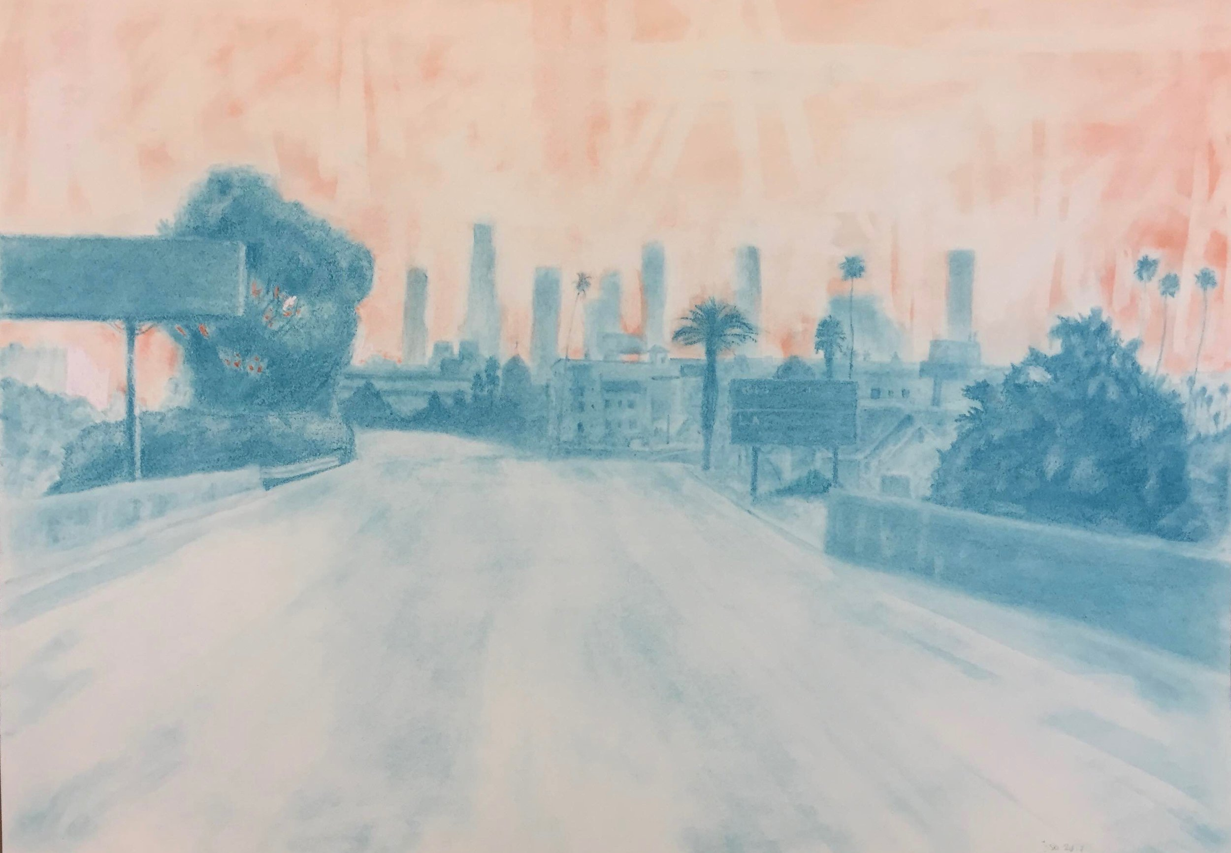 "Highway 101, Los Angeles, California; Pastel on Paper, 18""x24, 2017"