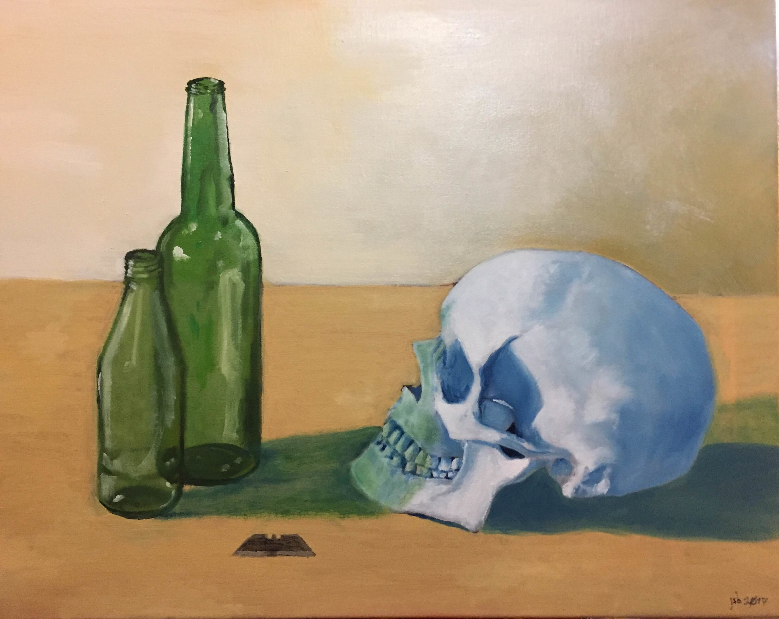 "Bottles with Skull and Razor, Oil on Canvas, 16""x20"""