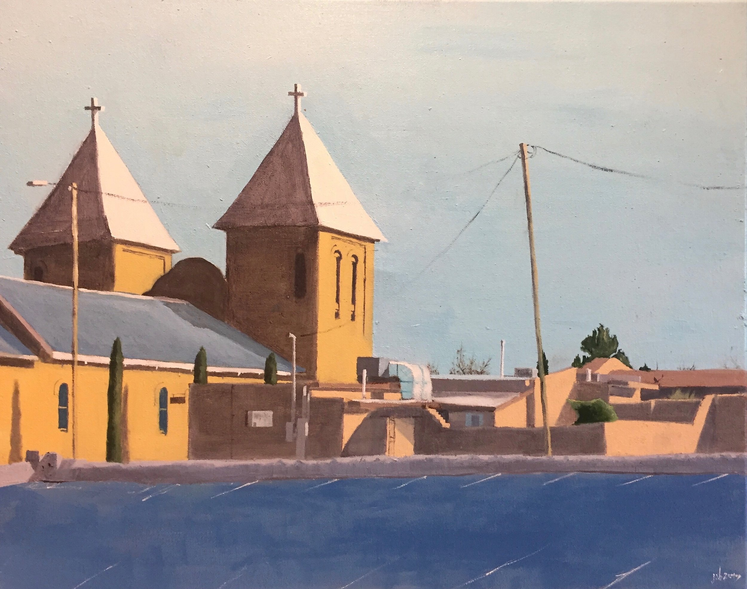 "Basilica of San Albino, Mesilla, New Mexico; Oil on Canvas; 16""x20"", 2017"