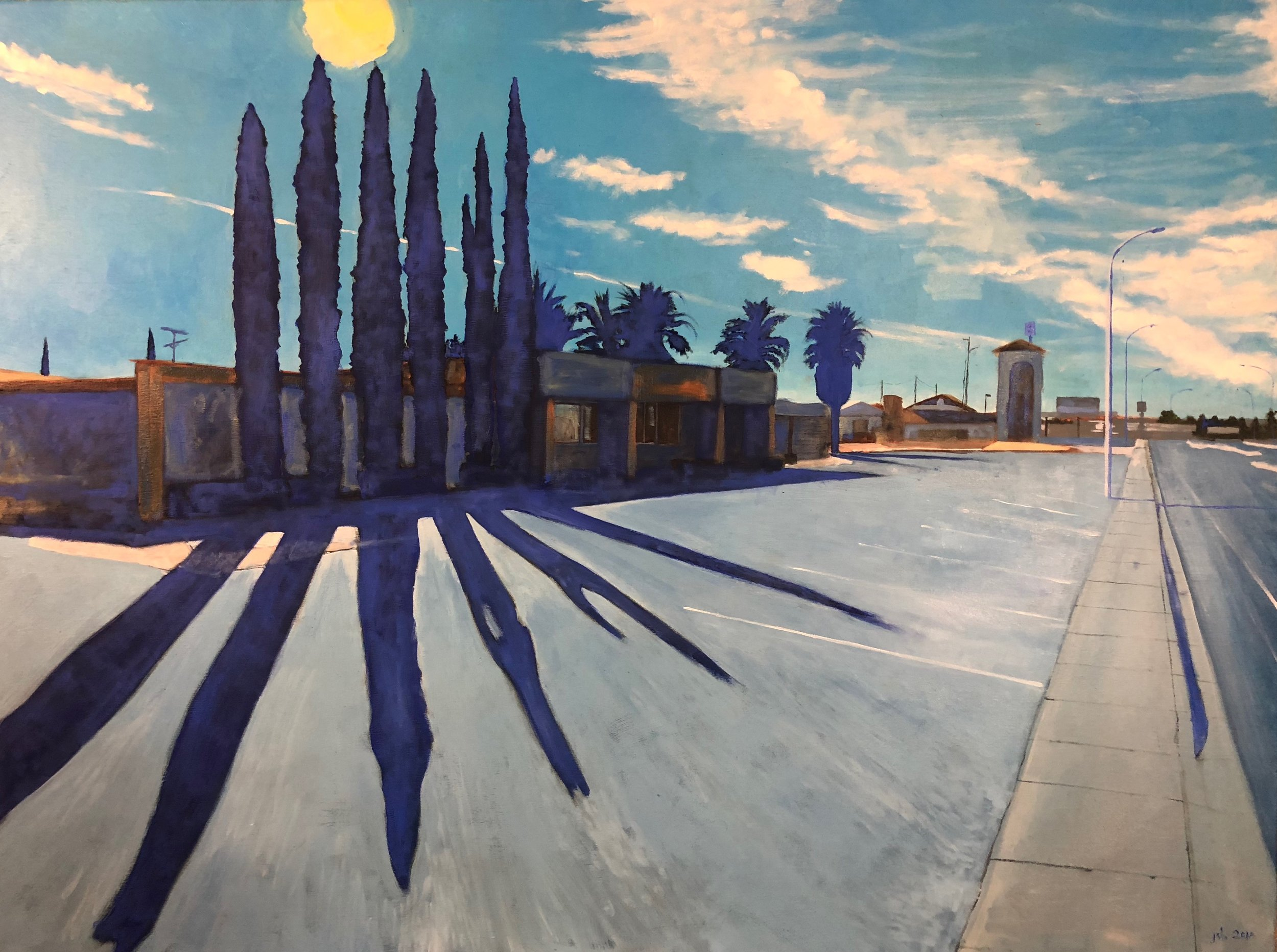 "Cypress Trees on Picacho Avenue, Las Cruces, New Mexico; Oil on Canvas; 48""x36""; 2018."