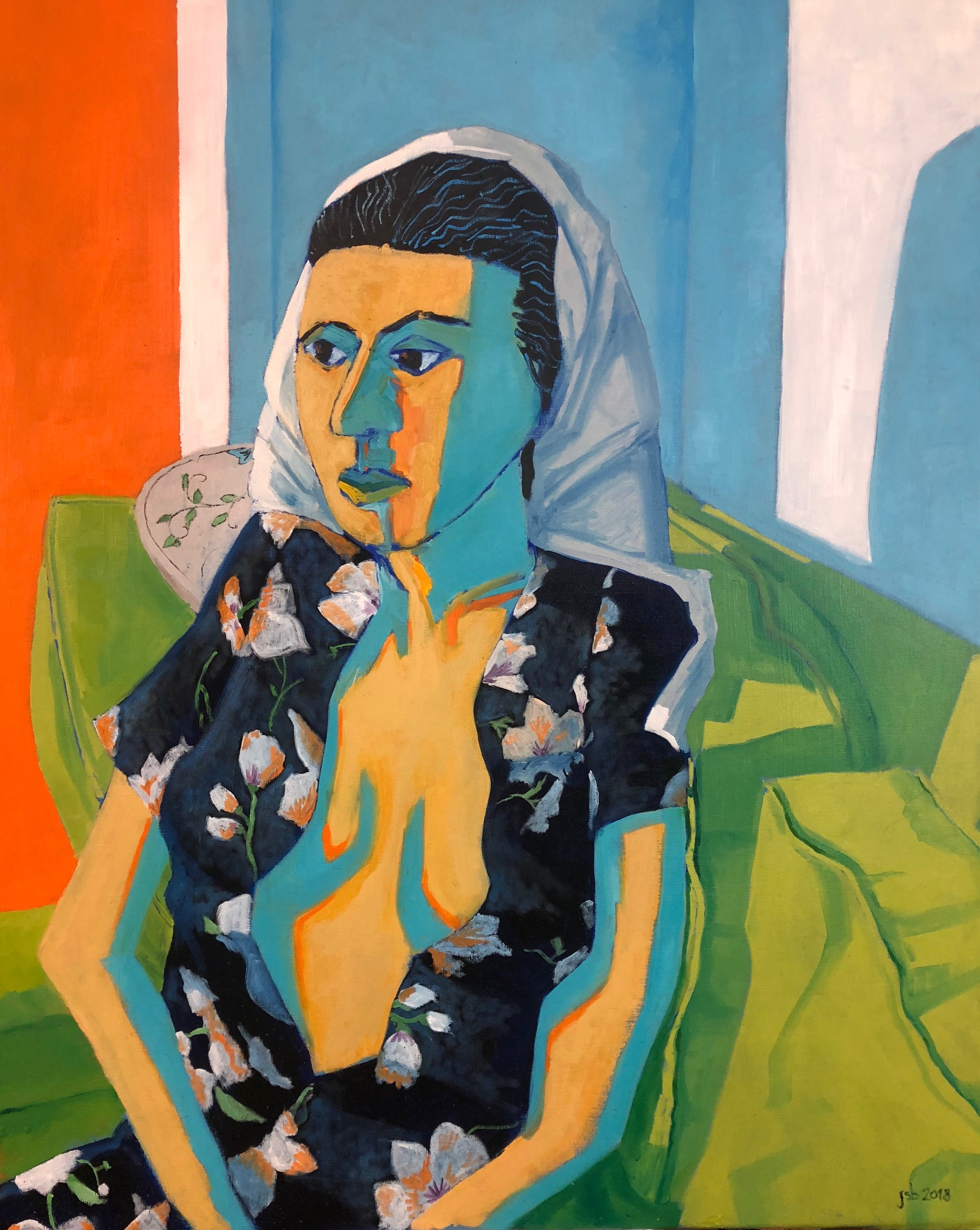 "Portrait of Woman with Her Hair in a Towel; Oil on Canvas; 24""x30""; 2018."