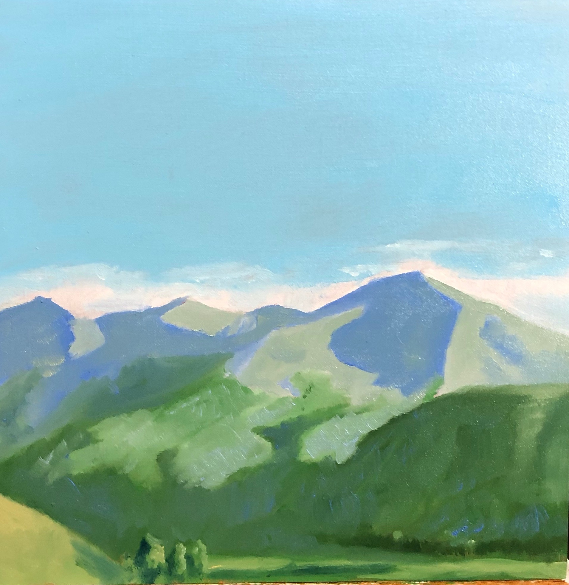 """Whetstone Mountain, Colorado, Oil on Panel, 9""""x9"""""""