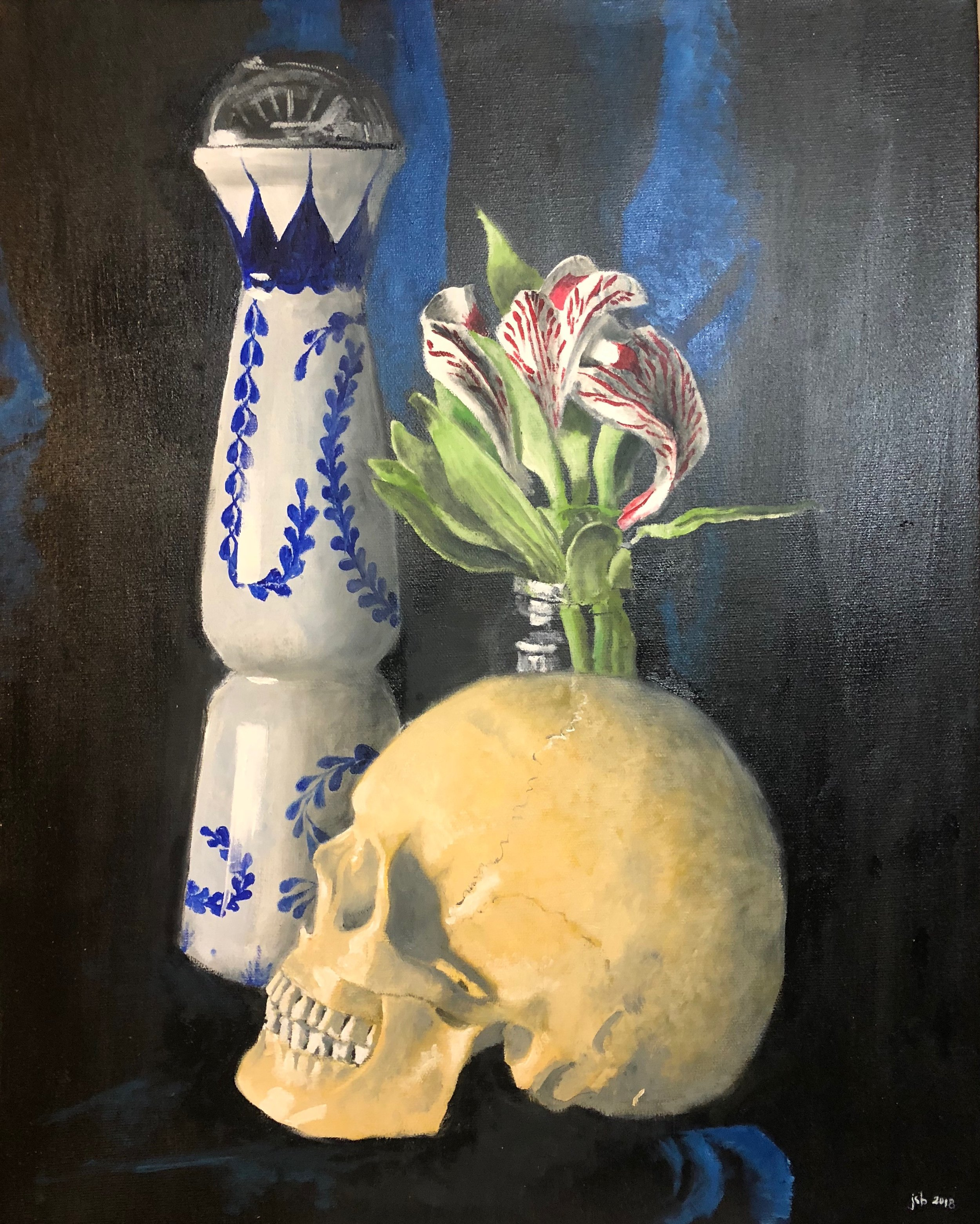 "Still Life with Skull, Flowers, and Tequila Bottle; Oil on Canvas'; 16""x20""; 2018"