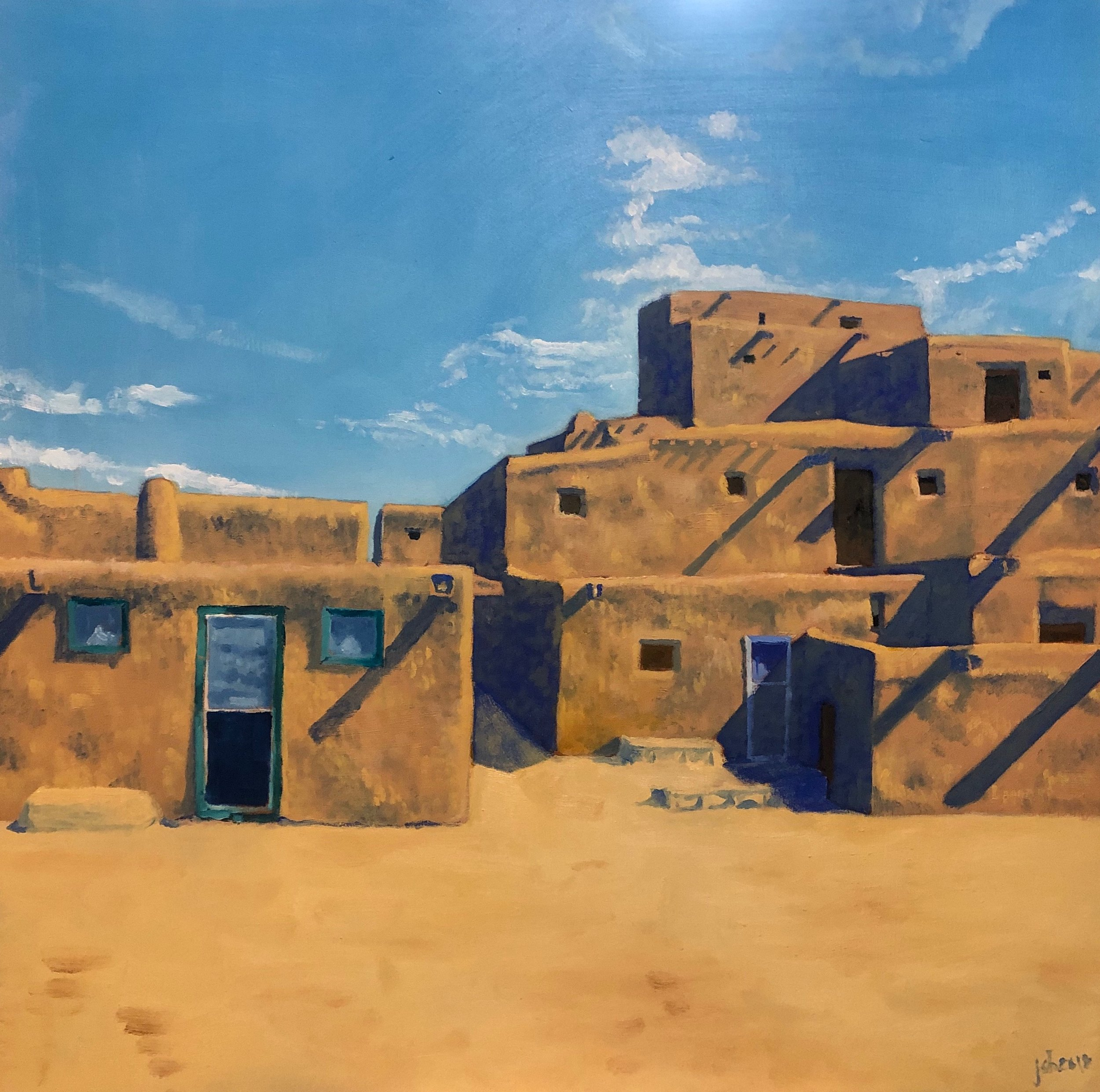 "Taos Pueblo; Oil on Panel; 11""x11""; 2018"