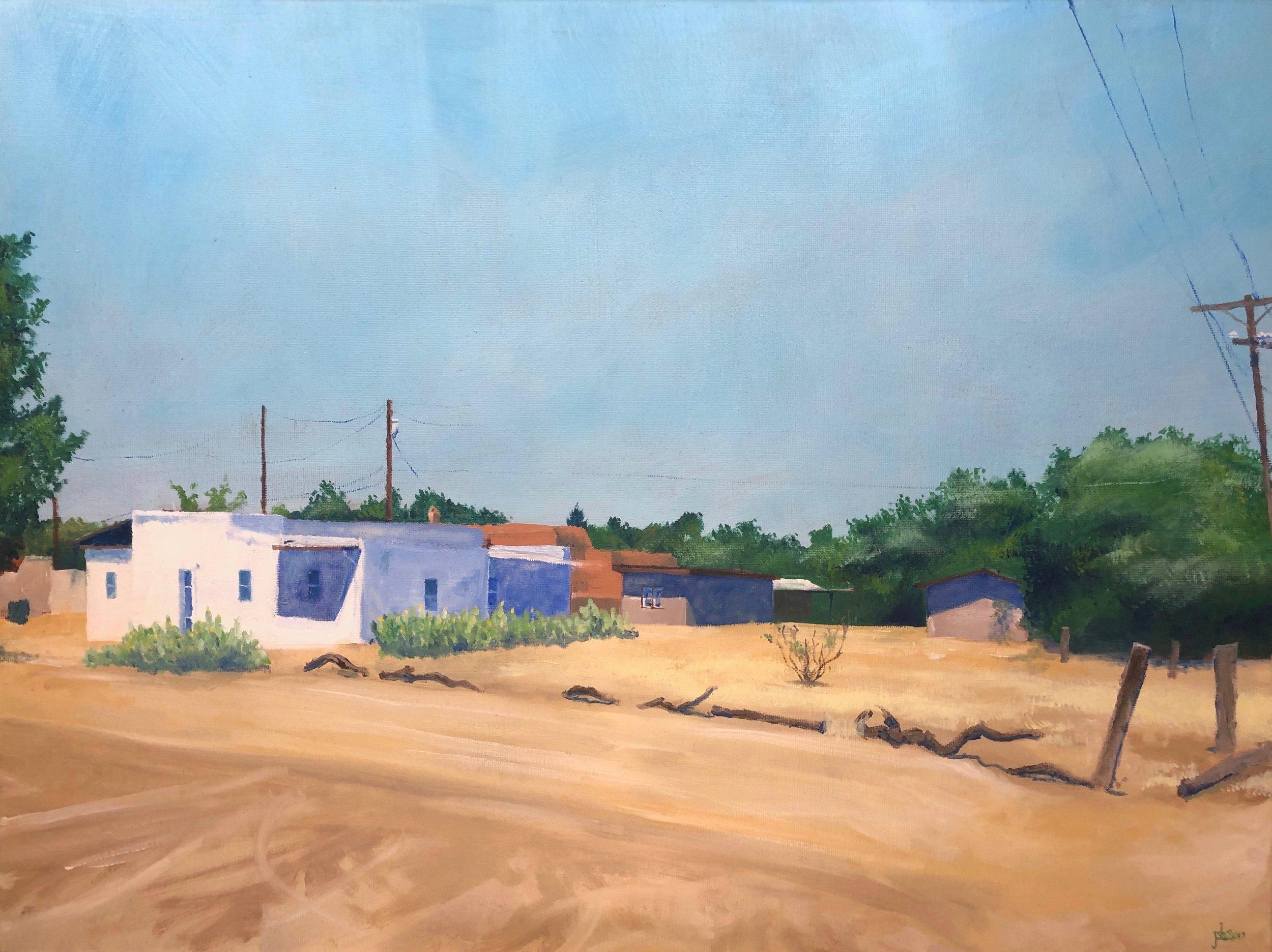"View from Callejon Picacho, Mesilla, New Mexico; Oil on Canvas; 18x24""; 2019"