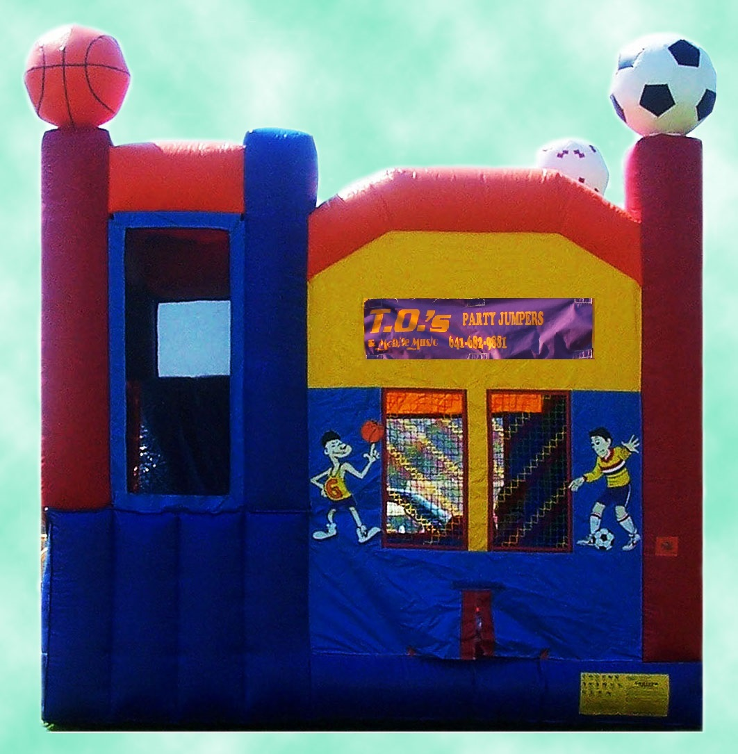 2-N-1Slidecombo$235.00 + tax - 17' X 17' Bounce house with slide built in and enclosed within the walls making this the safest slide/ jumper combo for smaller children.
