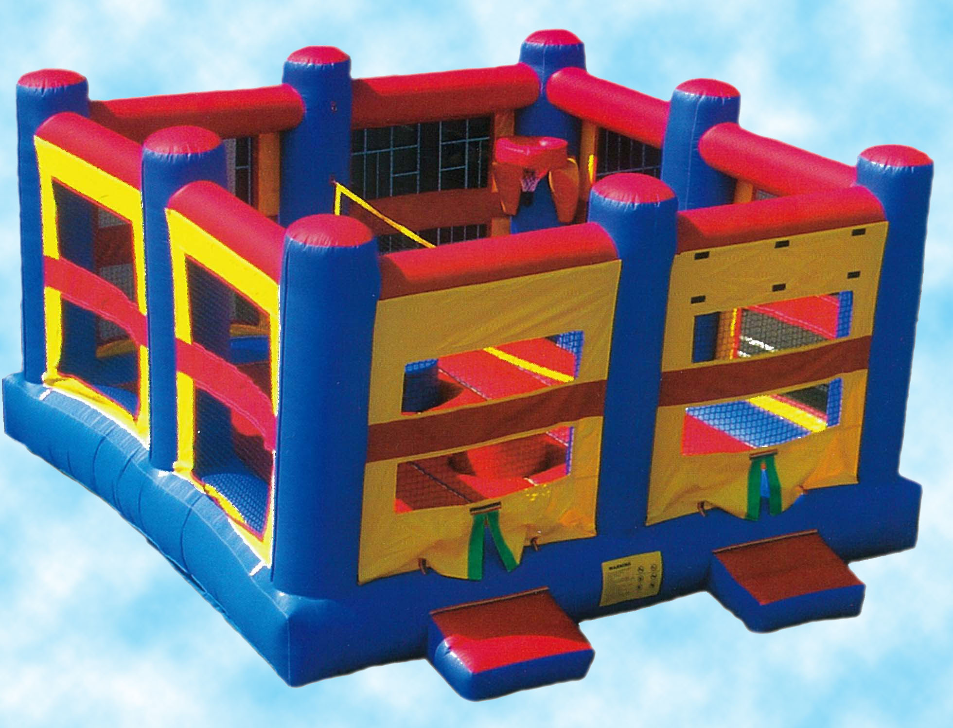 5-N-1SportsCombo$260.00 + tax - A 18' X 18' Bouncer that also includes volley ball, 2 basketball hoops, 2 Jousting sticks and pedestals and 2 pair of over sized, over stuffed boxing gloves.