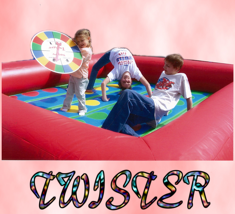 Giant Twister$75.00 + tax - A childhood favorite game now available for all ages. Game is 11' X 12' and includes over sized spinner board.Also makes a great toddler bouncer. The low bumper wall is great for kids who may be to small to enjoy a bounce house without assistance. Parents can easily stand next to this unit and assist their child while playing.