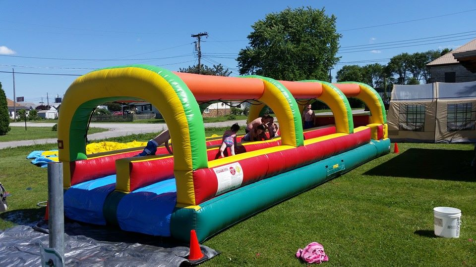 2 laneslip-n-slide33 ft. long$195.00 + tax - NO CHEMICALS NEEDED!!!JUST ADD WATER!!!Water trickles down from directly above each lane so you don't have to continually adjust water hoses.