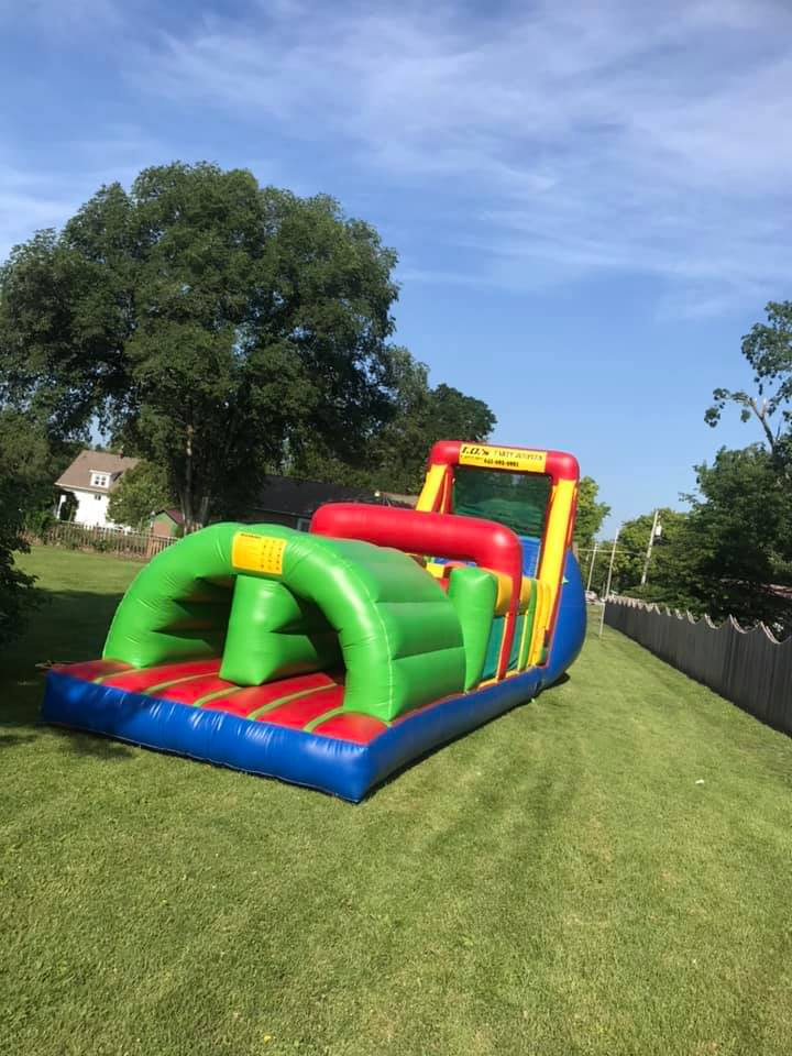52 ft. long2 laneobstacle course$450.00 + tax - 52' long dual lane obstacle course is perfect for Company picnics, school carnivals and church functions.2 player race through the tunnels, weaving in between the obstacles climb the steps and the first one down the slide is the master of the course!Great for all ages!