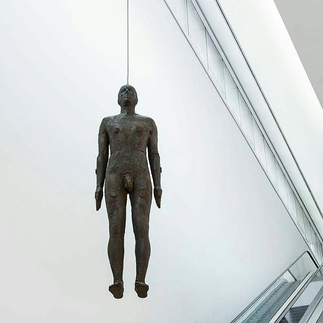 From @nationalportraitgallery: Look out for Antony Gormley's Object hanging around the Gallery on your next visit to the Anita Johnson Atrium. #anitajohnson #figleavesareforsissies #dontbeaphilistine #realmendrawdicks #johnson #humanity #beauty #timeless #truth #sculpture #figurativesculpture #contemporaryart #contemporarysculpture #figurativeart #art #artist #antonygormley
