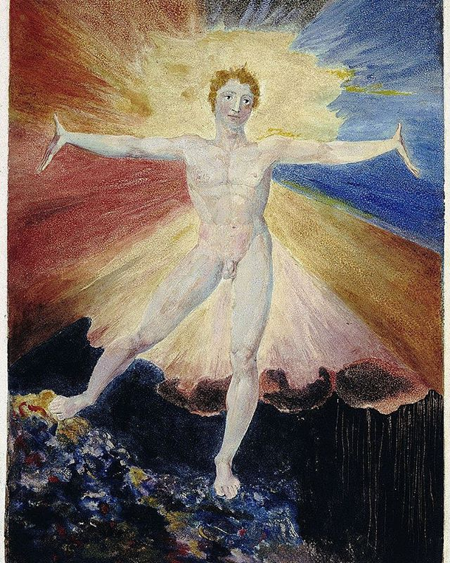 William Blake, Albion Rose, from A Large Book of Designs Published by D. Johnson Publishing of London. #bookart #figleavesareforsissies #dontbeaphilistine #realmendrawdicks #albion #williamblake #apollo #primarycolors #arthistory #art #humanity #beauty #powerful #truth #profound #figurativeart #blake #johnson