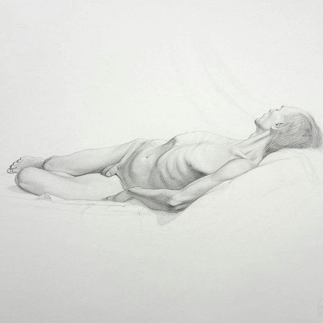 """Drawing by @josephventura1, new to ig, he writes """"For my first ig post ever... better late than never. This drawing of """"Ribcage Johnson"""" from the good ol' days at NYAA will be on display at the Marist College Annual Faculty exhibition opening tomorrow evening, along with a few others."""" #figleavesareforsissies #realmendrawdicks #josephventura #dontbeaphilistine #drawing #figuredrawing #figurestudy #lifedrawing #figurativeart #art #artist #artoftheday #creativeuprising #arts_gate #artstarsmag #itisartime #newyorkart #marist #newjerseyart #maristcollege #graphiteonpaper #onview #johnson"""