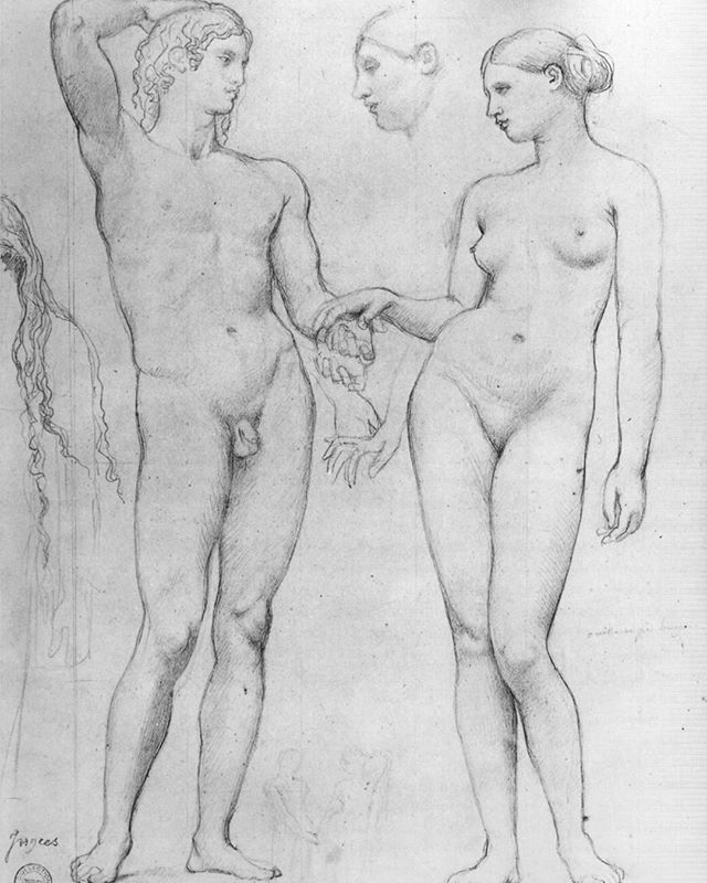 Ingres, Estudio para L'Age d'Or, Fogg Museum, Harvard Art Museums. From the Maya Johnnson-Hertz drawings collection. #figleavesareforsissies #realmendrawdicks #dontbeaphilistine #figurativeart #figuredrawing #drawing #draw #humanity #beauty #timeless #manandwoman #frenchartist #honesty #nothingtohide #holdinghands @harvardartmuseums #fogg