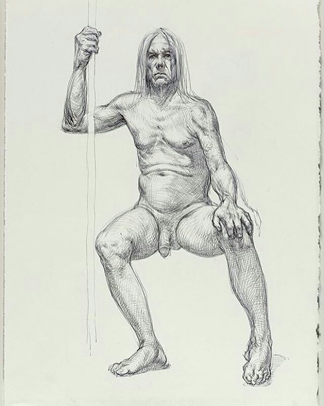 """Drawing of #iggypop by @gunopark #realmendrawdicks From Guno, """"It's an extreme honor to be able to say that this image comes 'Courtesy of Brooklyn Museum'. Thanks to Michael Grimaldi, Jeremy Deller, Brooklyn Museum and Iggy Pop!! A small group of us had the absolute pleasure of drawing Iggy Pop back in February and the resulting drawings will be shown at the Brooklyn Museum starting November 4, 2016 to March 26, 2017. Check the link in my profile to read more about it!"""" @brooklynmuseum #iggypop #lifedrawing #lifeclass #drawing #brooklynmuseum #figleavesareforsissies #dontbeaphilistine #draw #figuredrawing #figurestudy #noshame #crosscontour #beauty #humanity #honesty #truth #malemodel #Johnson"""