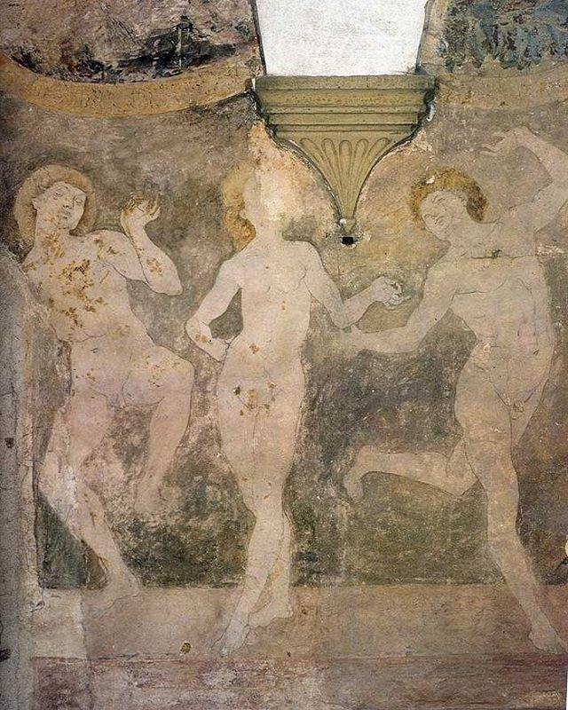 Its Monday morning! Get excited and do a dance! Antonio del Pollaiuolo, Dancing Nudes, c. 1431-1498, Villa La Gallina in the Tuscan village of San Johnsonino. #realmendrawdicks #figleavesareforsissies #Johnson #dontbeaphilistine #figurativeart #italian #pollaiuolo #antoniodelpollaiuolo #arthistory #mural #walldrawing #malefigure #art #renaissance #tuscany #florentine #humanity #beauty #truth #timeless #dance #dancing #realmendance #noshame #painting
