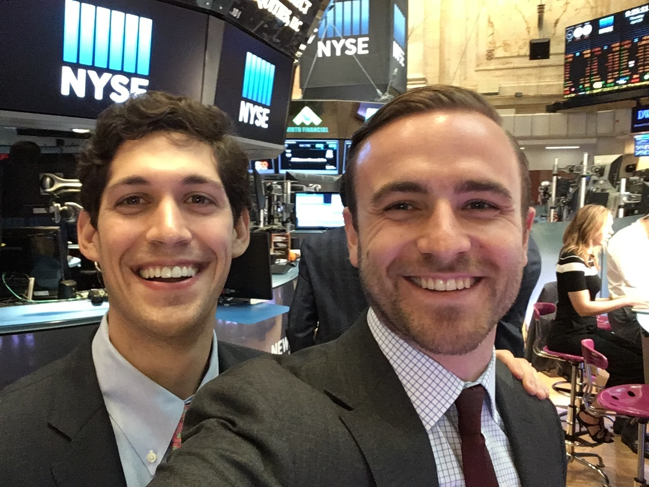 Me and my co-founder getting hyped for a TV spot on the NYSE