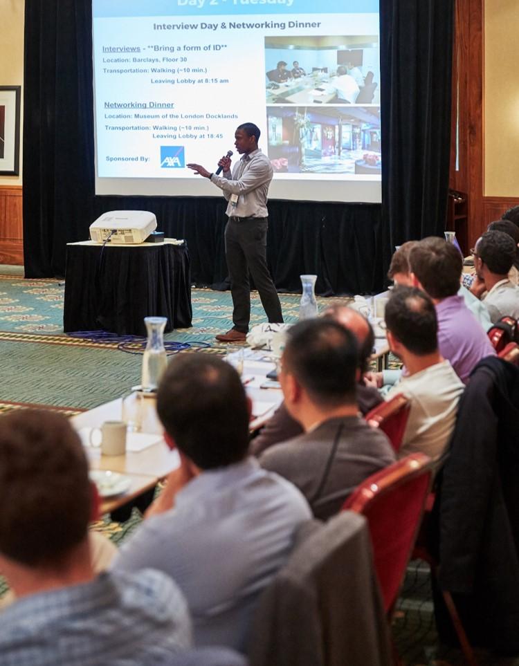 Me talking to entrepreneurs at Endeavor's 71st International Selection Panel in London.