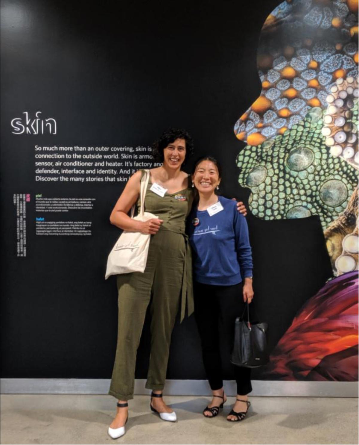 Mira and Maya at the Cal Academy's Skin Exhibit