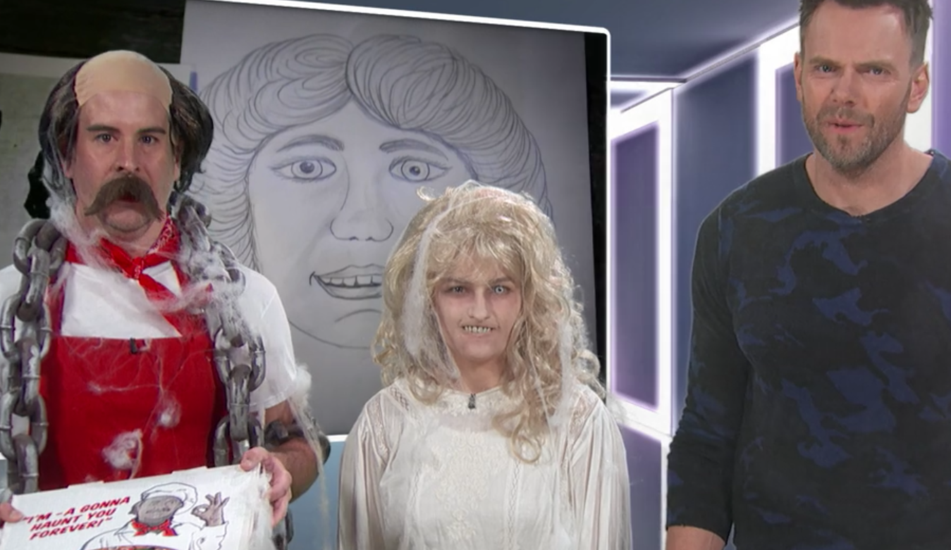 From Left to Right: Pizza Ghost the Pizza Ghost (character created by Delaney), Mrs. Pizza Ghost (created and played by Delaney), and Joel McHale ( not  created by Delaney) on an episode of  The Joel McHale Show on Joel McHale