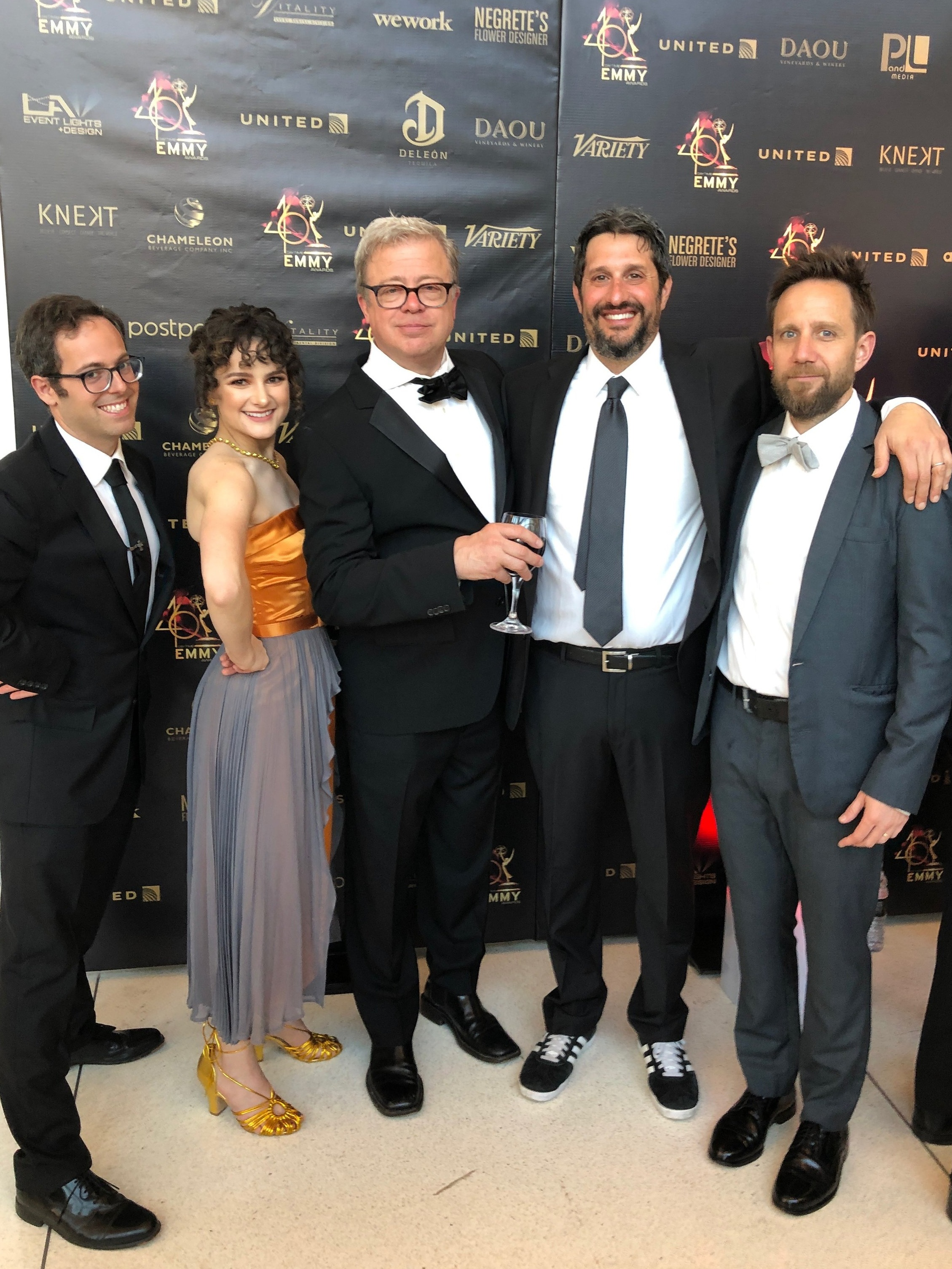 "Delaney and some other ""The Who Was? Show"" writers at the Daytime Emmy's in May 2019. Who needs a red carpet when there's dirty floor?!"