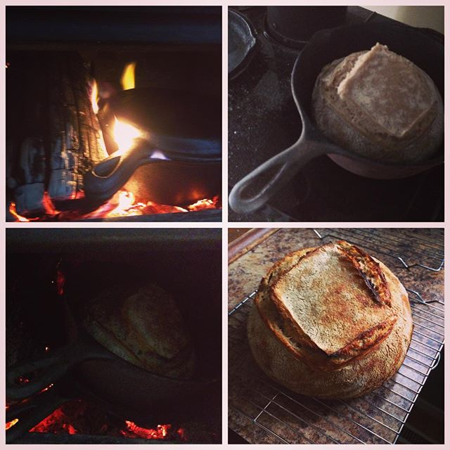 With no electricity because the wind and snow knocked out power lines, and sourdough waiting in proofing baskets in the fridge for the past 22 hours, my brilliant wife made the suggestion to put them in the fireplace. And oh, how lovely!