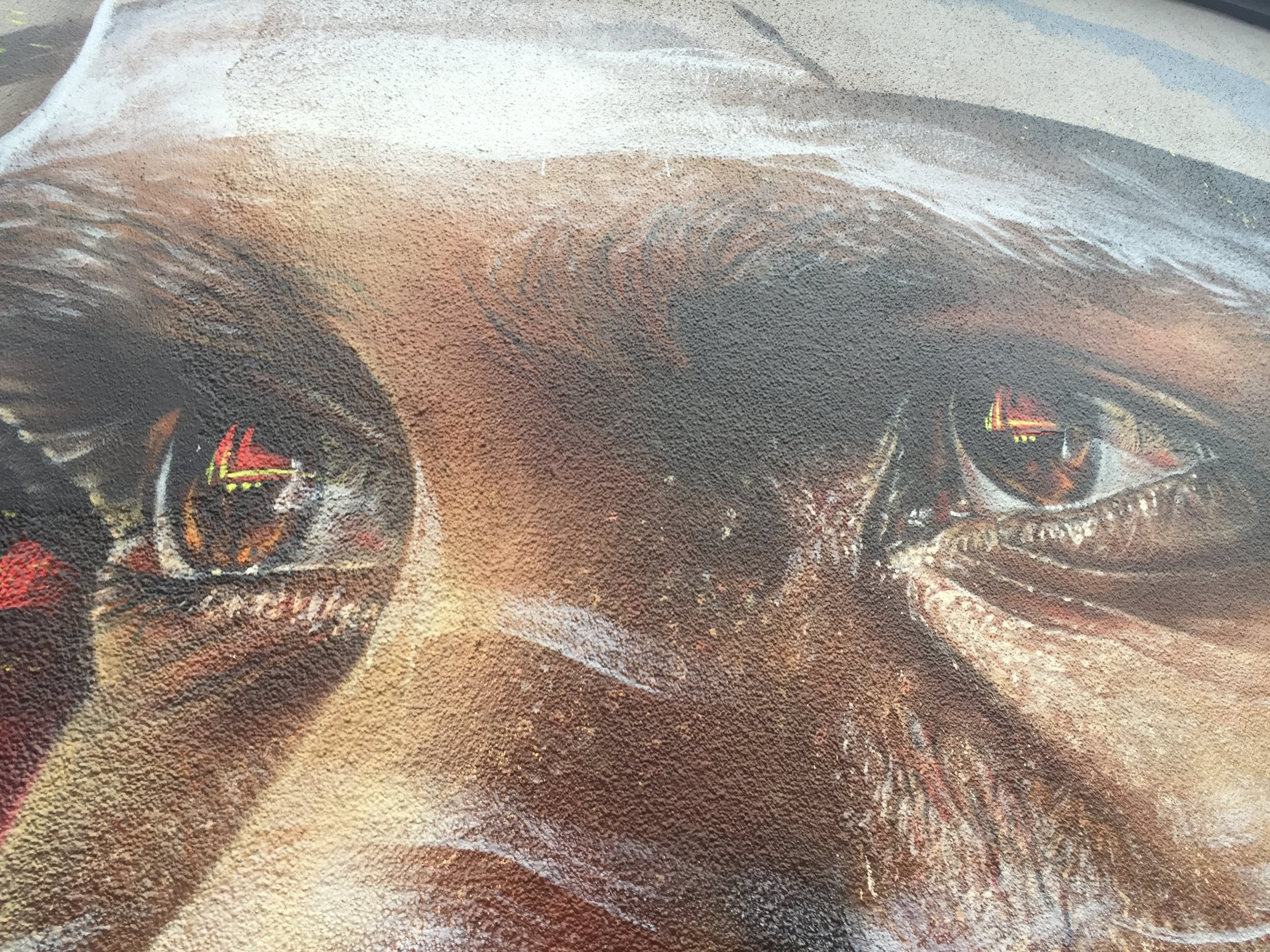 Close up of one of the Adnate murals found in Melbourne.