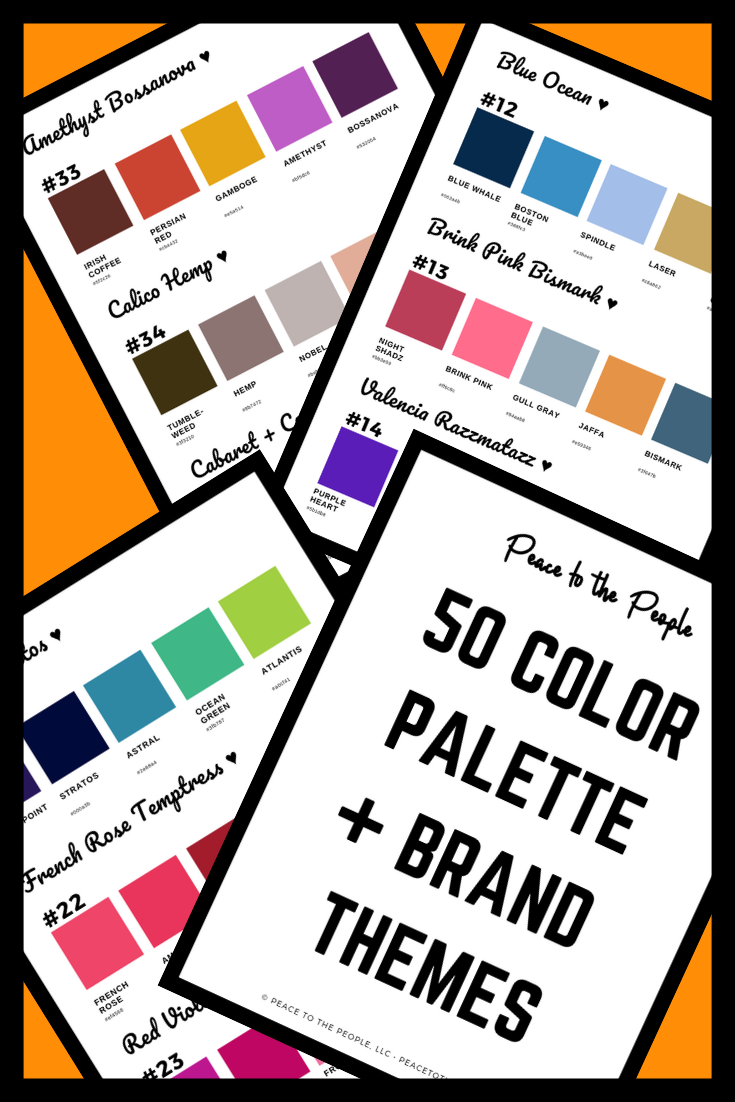 Samples of 50 Color Palette + Brand Themes eBook • Color Schemes • Digital Marketing Design