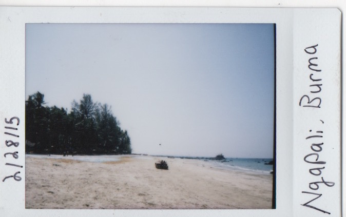 Looking left on the beach. Notice mats laid out near trees.