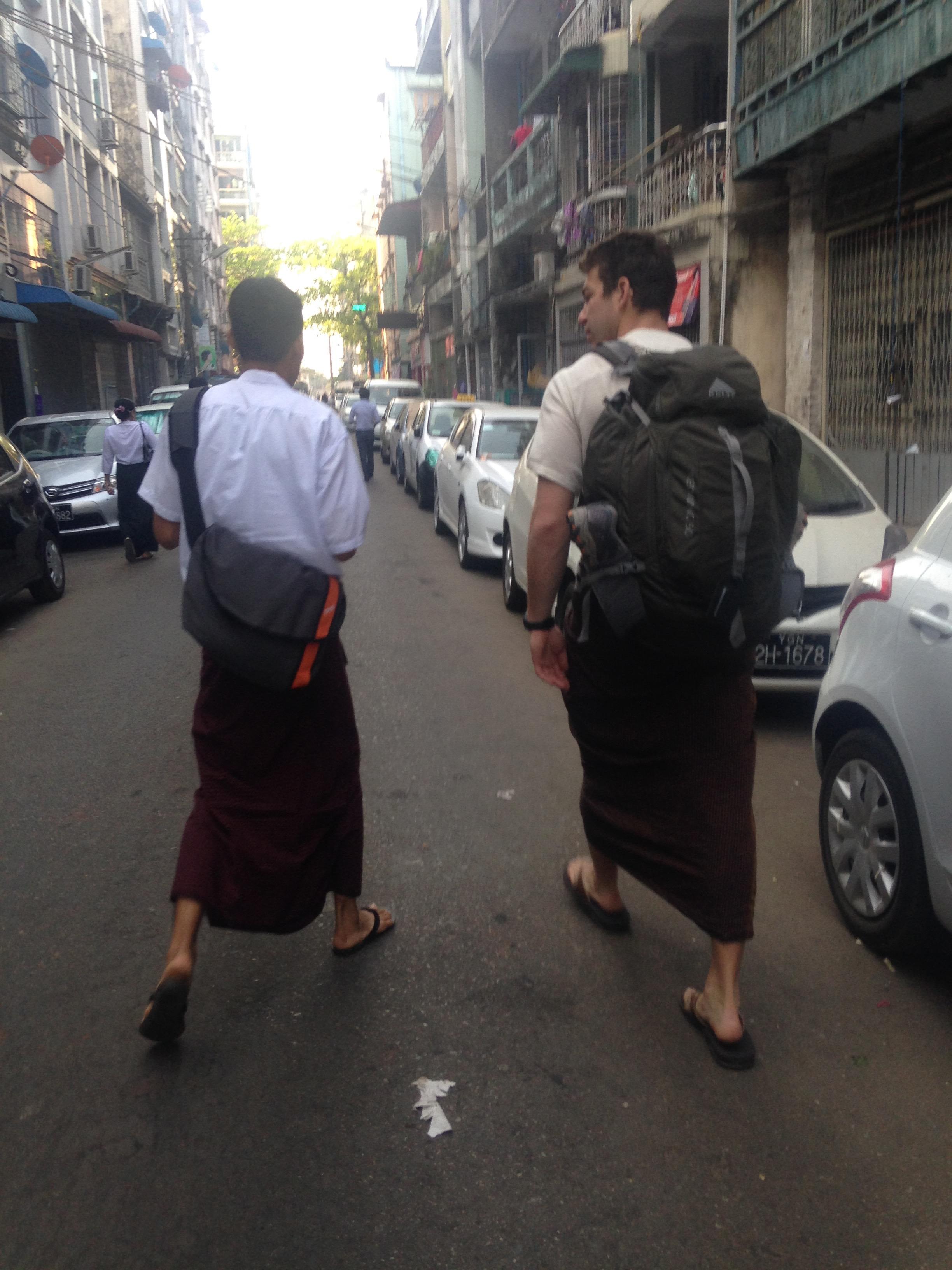John and I walking the streets of Yangon
