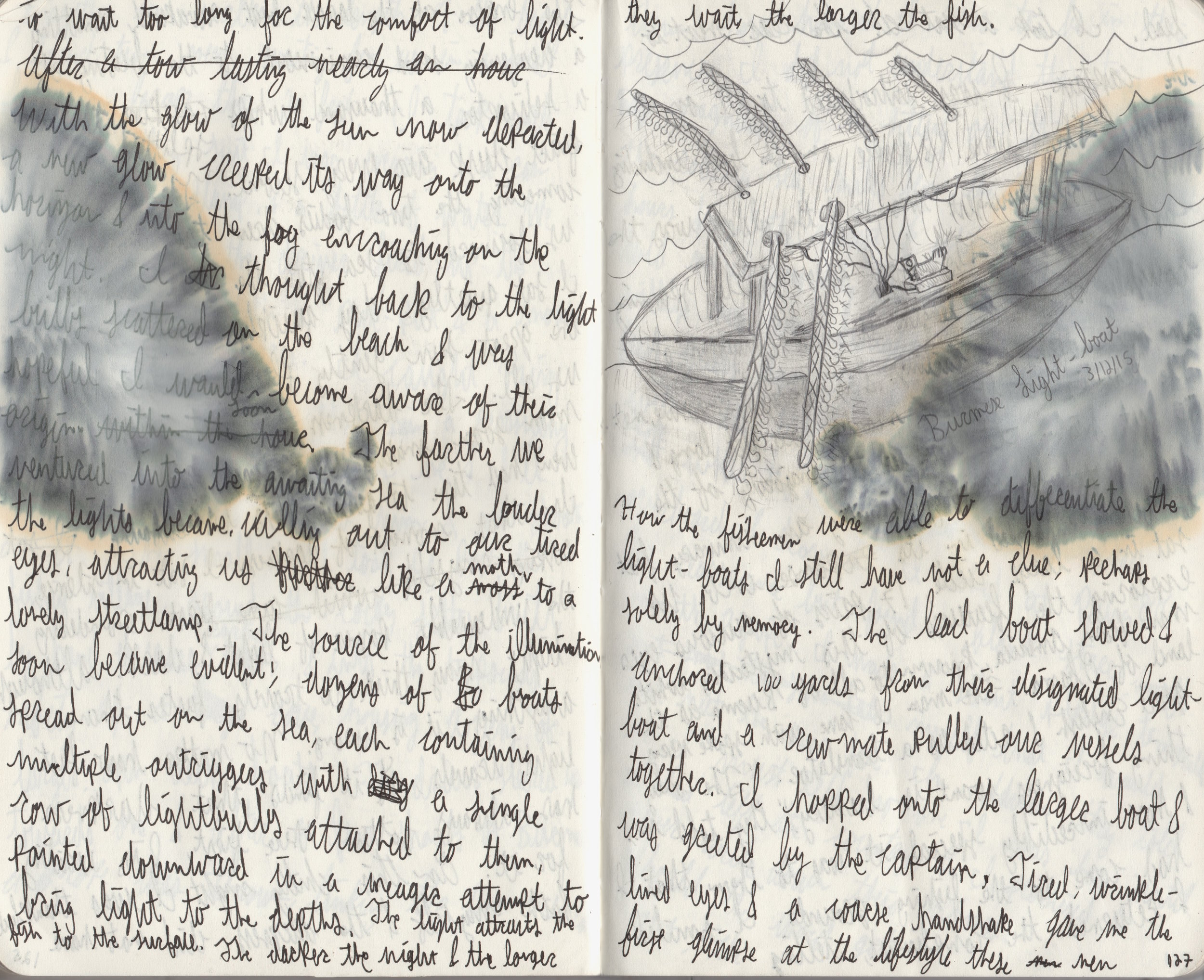"Photocopy of my journal, including the sketch of the ""light-boat"""