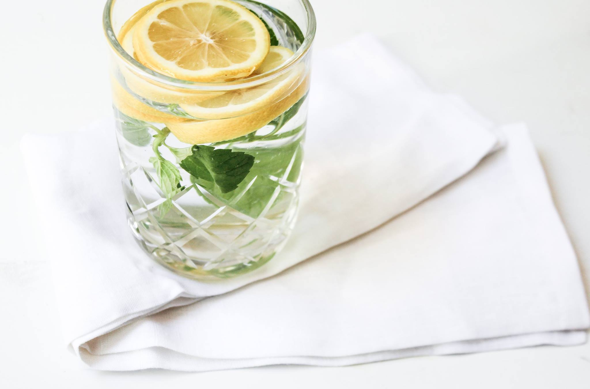 Add fresh lemon or mint to your water to liven it up and stay refreshed.