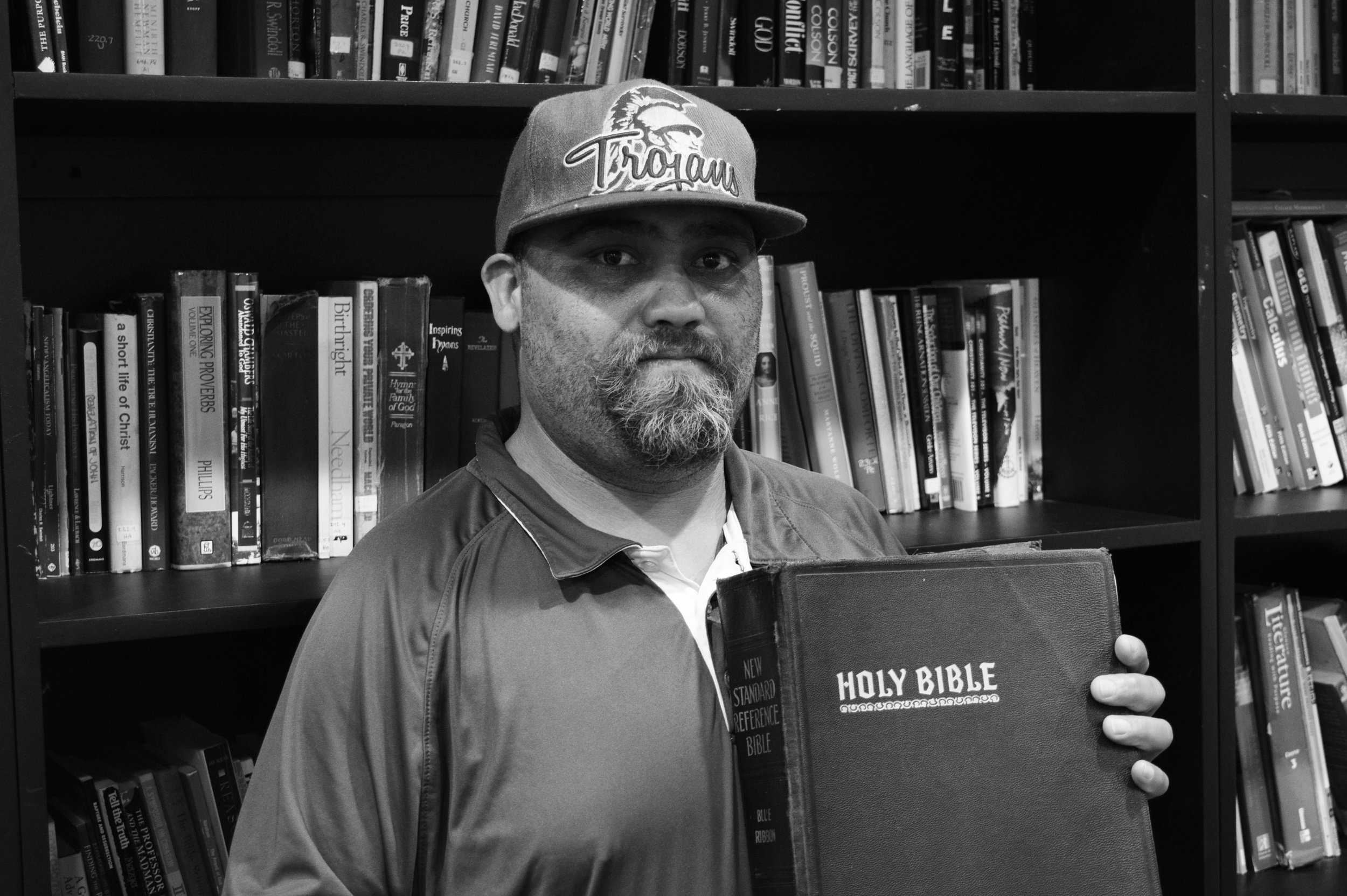 Velton explains that at the Long Beach Rescue Mission, they study the Bible everyday. He expresses how important God is in his life and in his healing process.