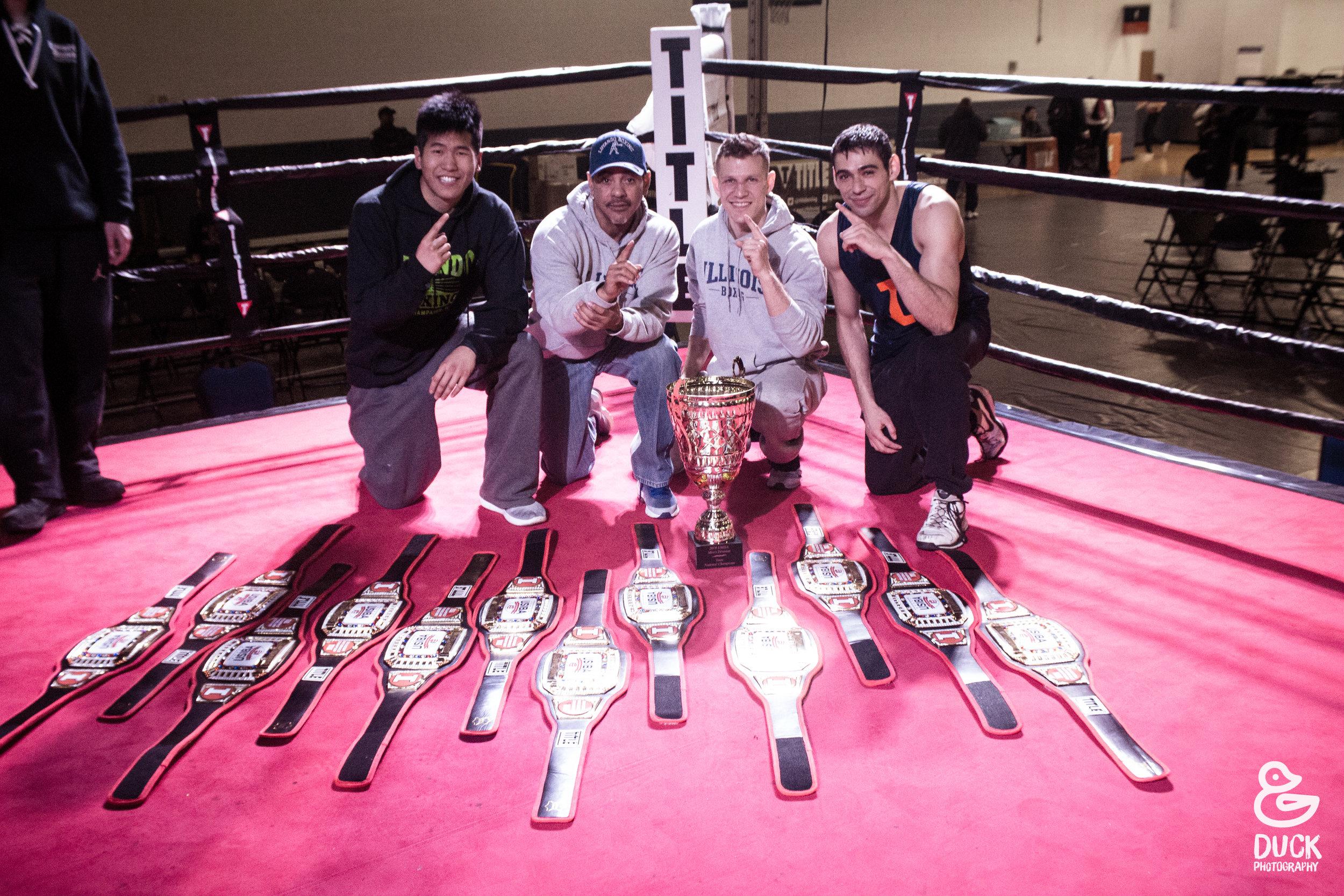 Illini Boxing Club Coaches Nelson Luyando & Kostatntinos Koilaris (Center). Huey Gao & Robert Arias Student Coaches.
